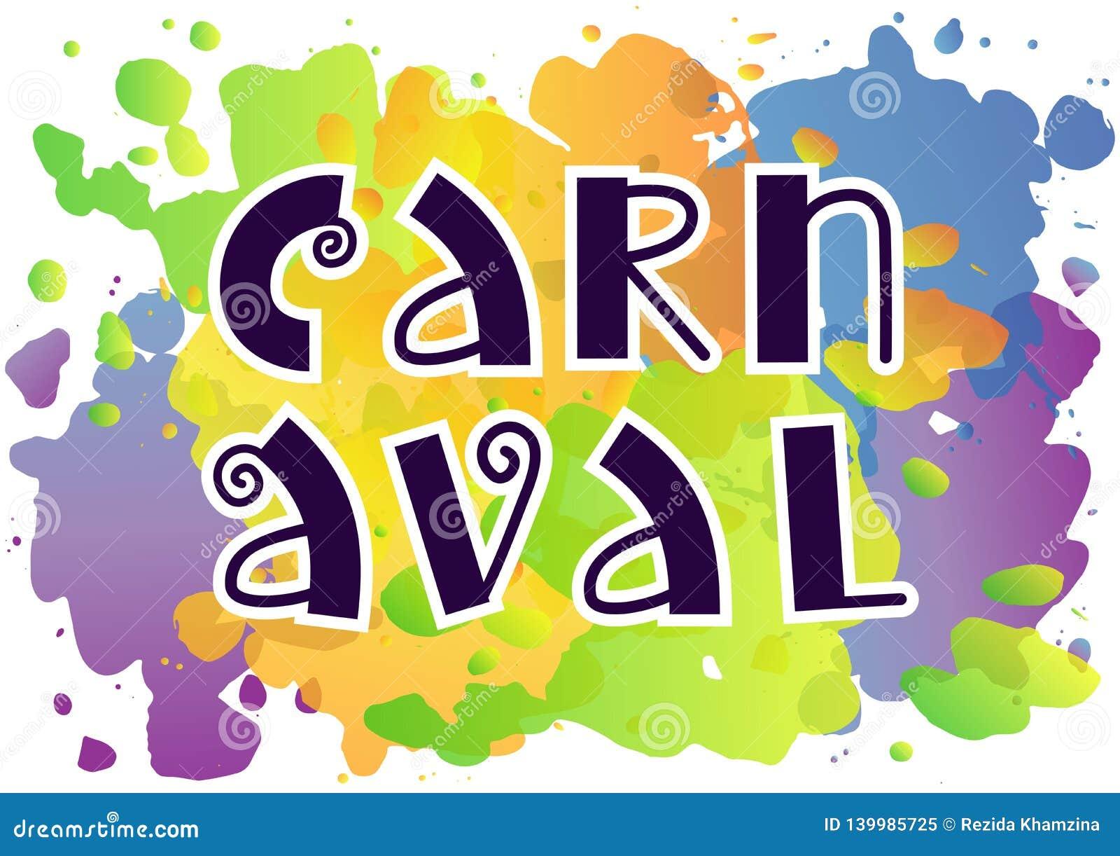 Lettrage décoratif de Carnaval avec des remous dans bleu-foncé sur le fond coloré d aquarelle