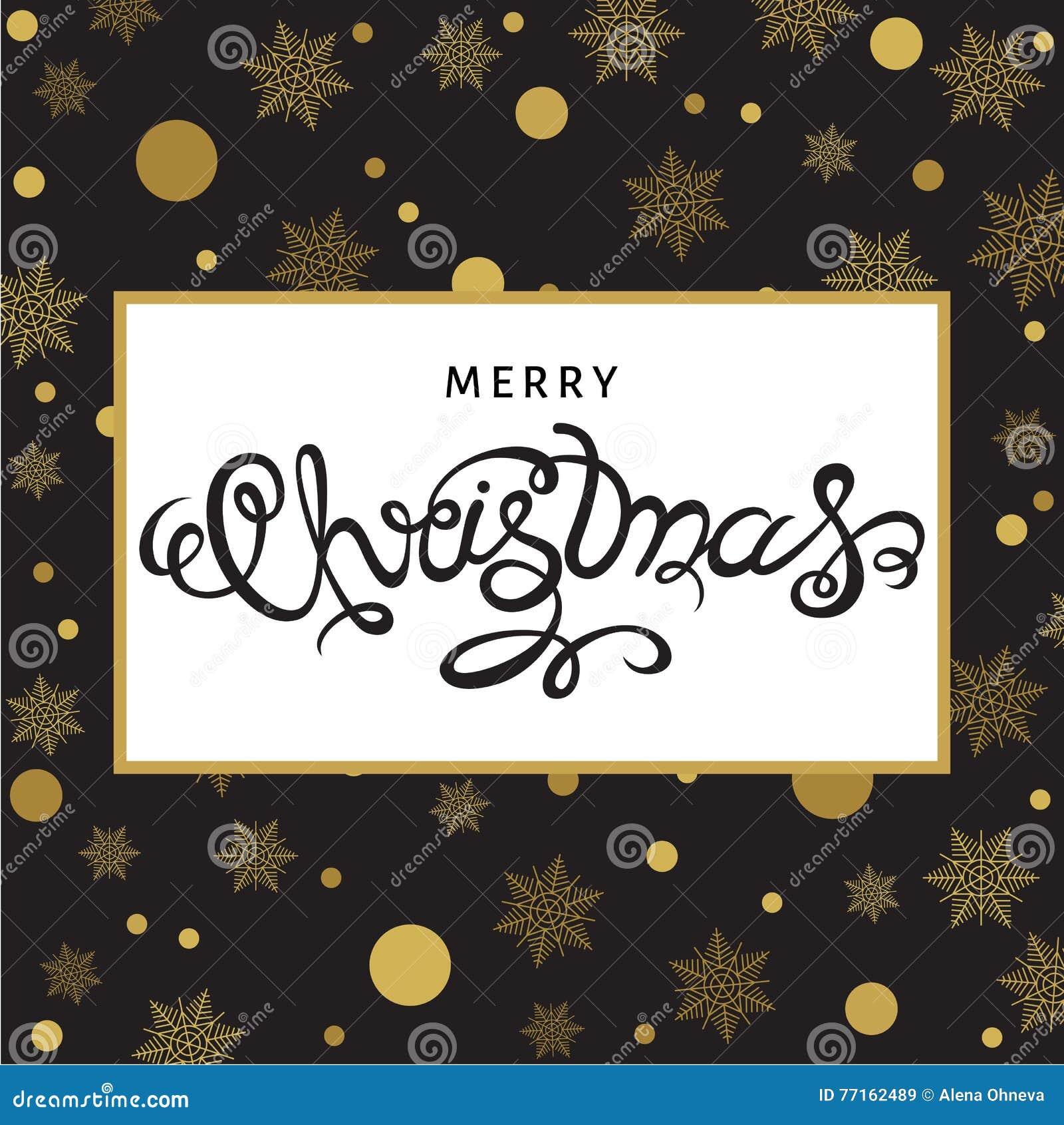 Lettrage de main de Joyeux Noël sur le fond avec le snowfla d or