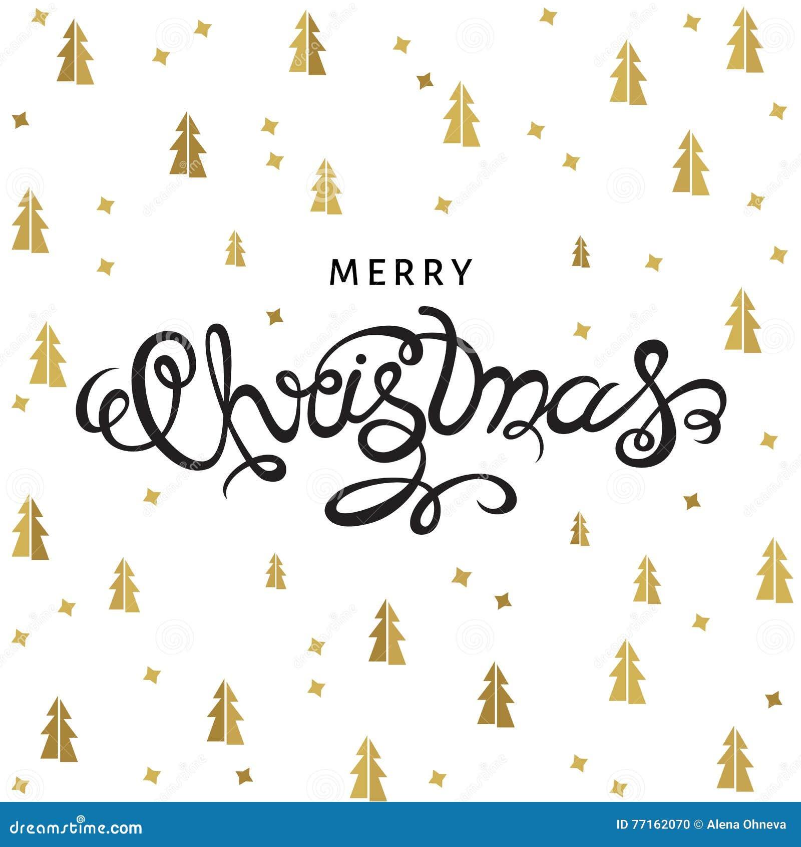 Lettrage de main de Joyeux Noël sur le fond avec les sapins d or