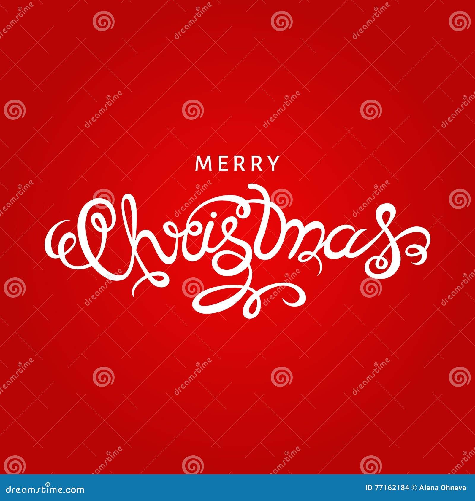 Lettrage de main de Joyeux Noël sur le fond rouge