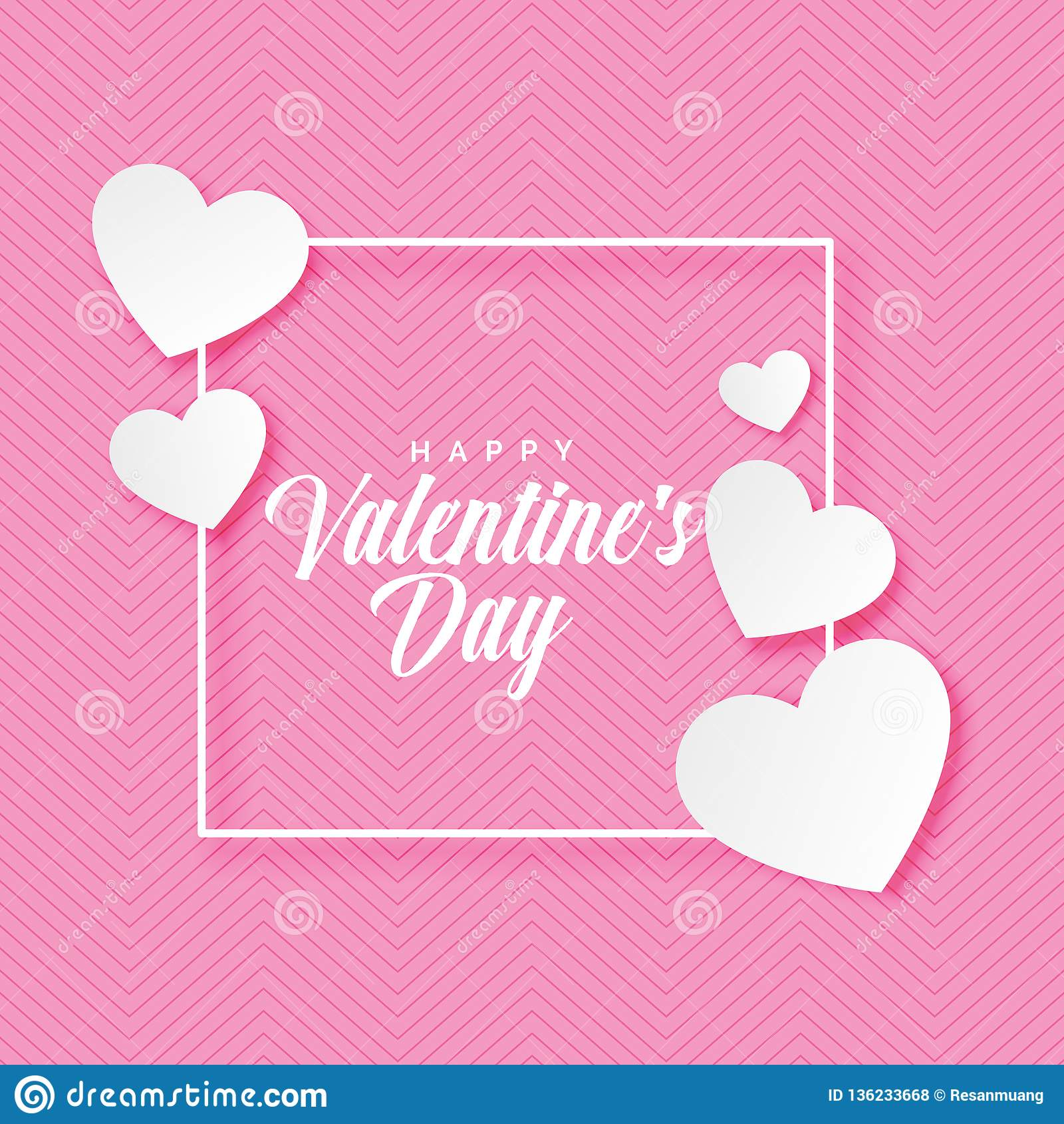 Lettrage heureux de jour de valentines avec sur le fond rose