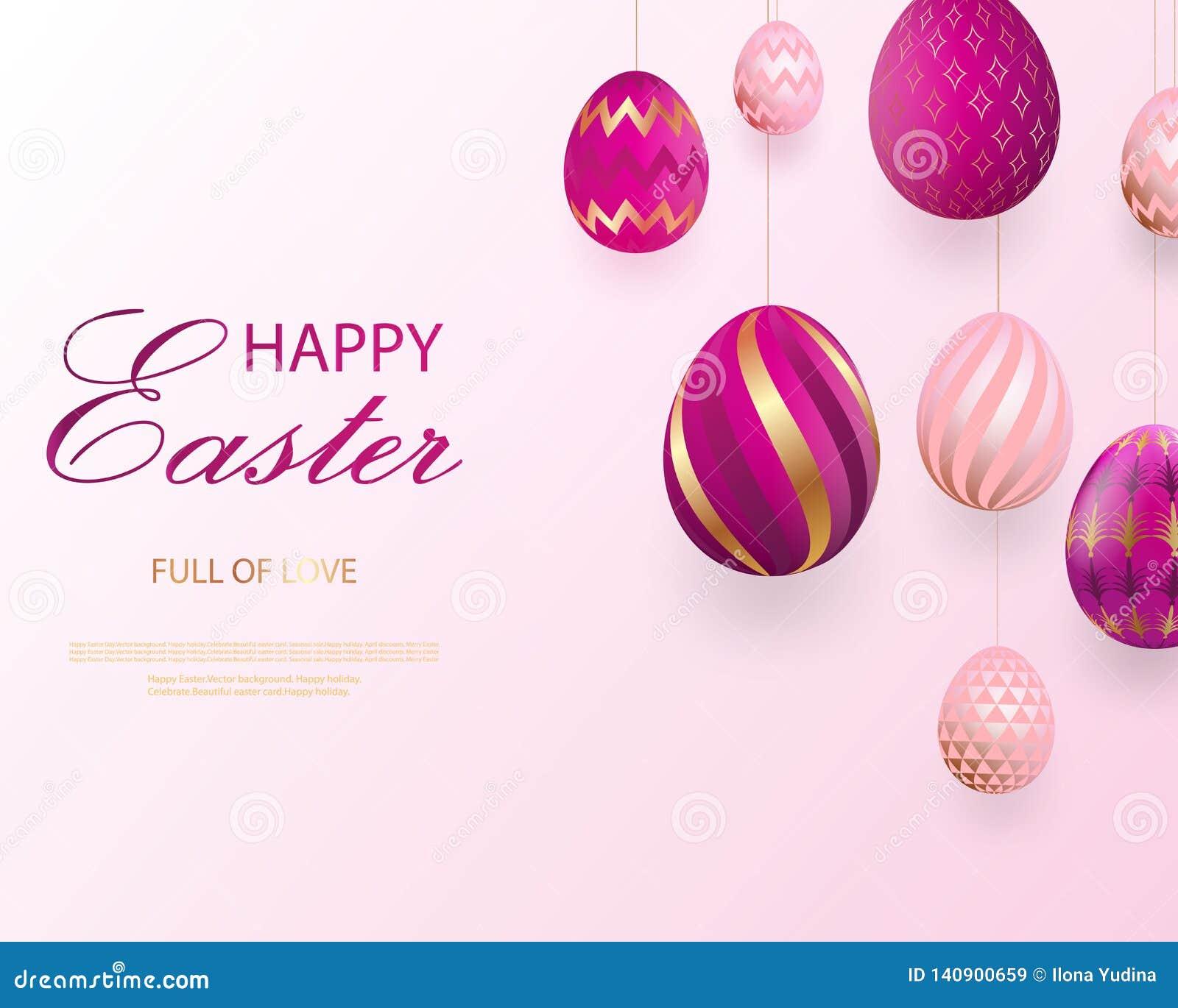 Lettrage heureux de Pâques avec les oeufs de regard réalistes d or de rose Vecteur Configurations géométriques Carte de voeux de