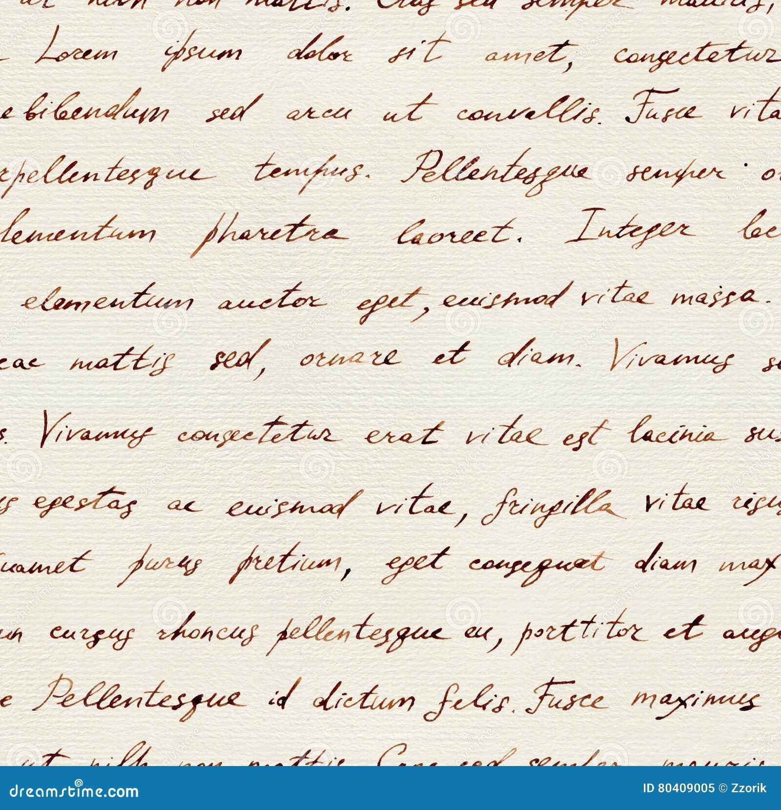 Lettre écrite par main - lorem ipsum sans couture des textes Répétition de la configuration