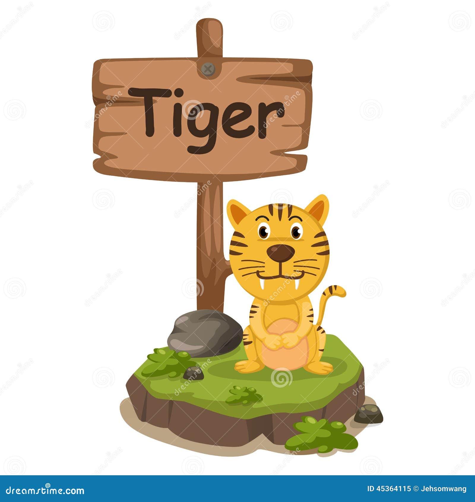 Lettre animale T d alphabet pour le tigre