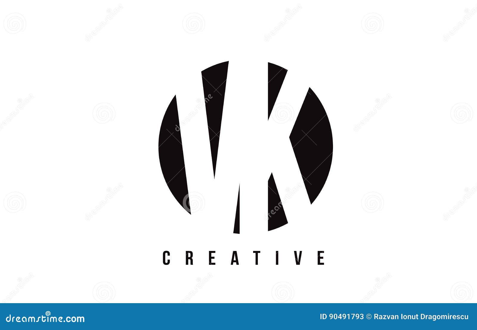 Lettre Blanche Logo Design De VK V K Avec Le Fond De Cercle