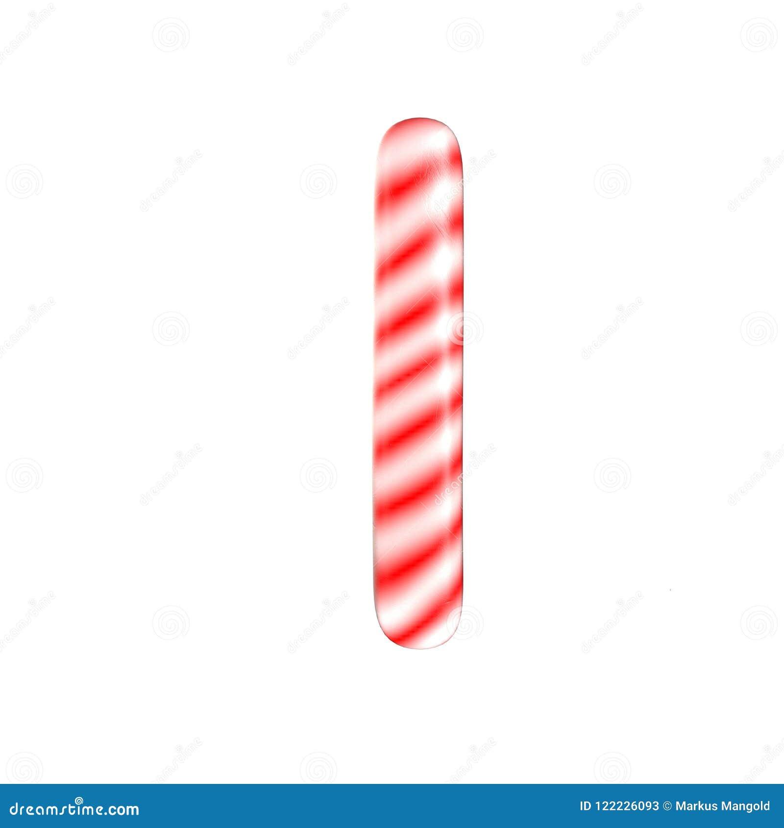 Lettre blanche rouge de sucrerie que j ai isolée sur le fond blanc