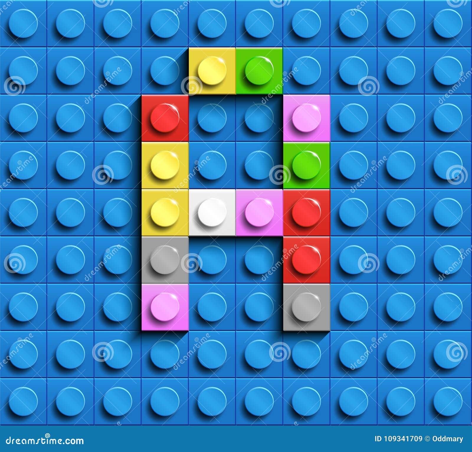 Lettre colorée A des briques de lego de bâtiment sur le fond bleu de lego Lettre M de Lego