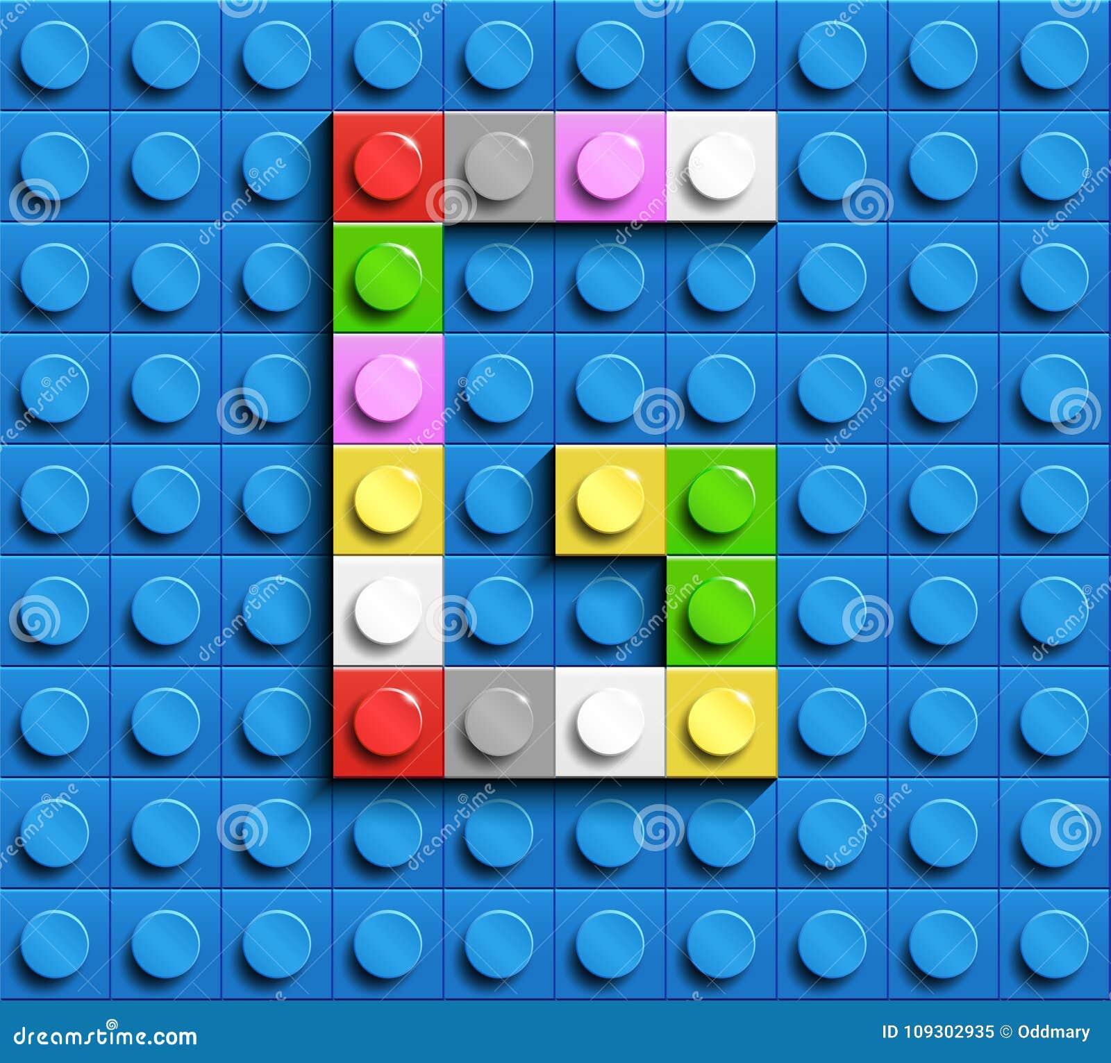 Lettre colorée G des briques de lego de bâtiment sur le fond bleu de lego Lettre M de Lego