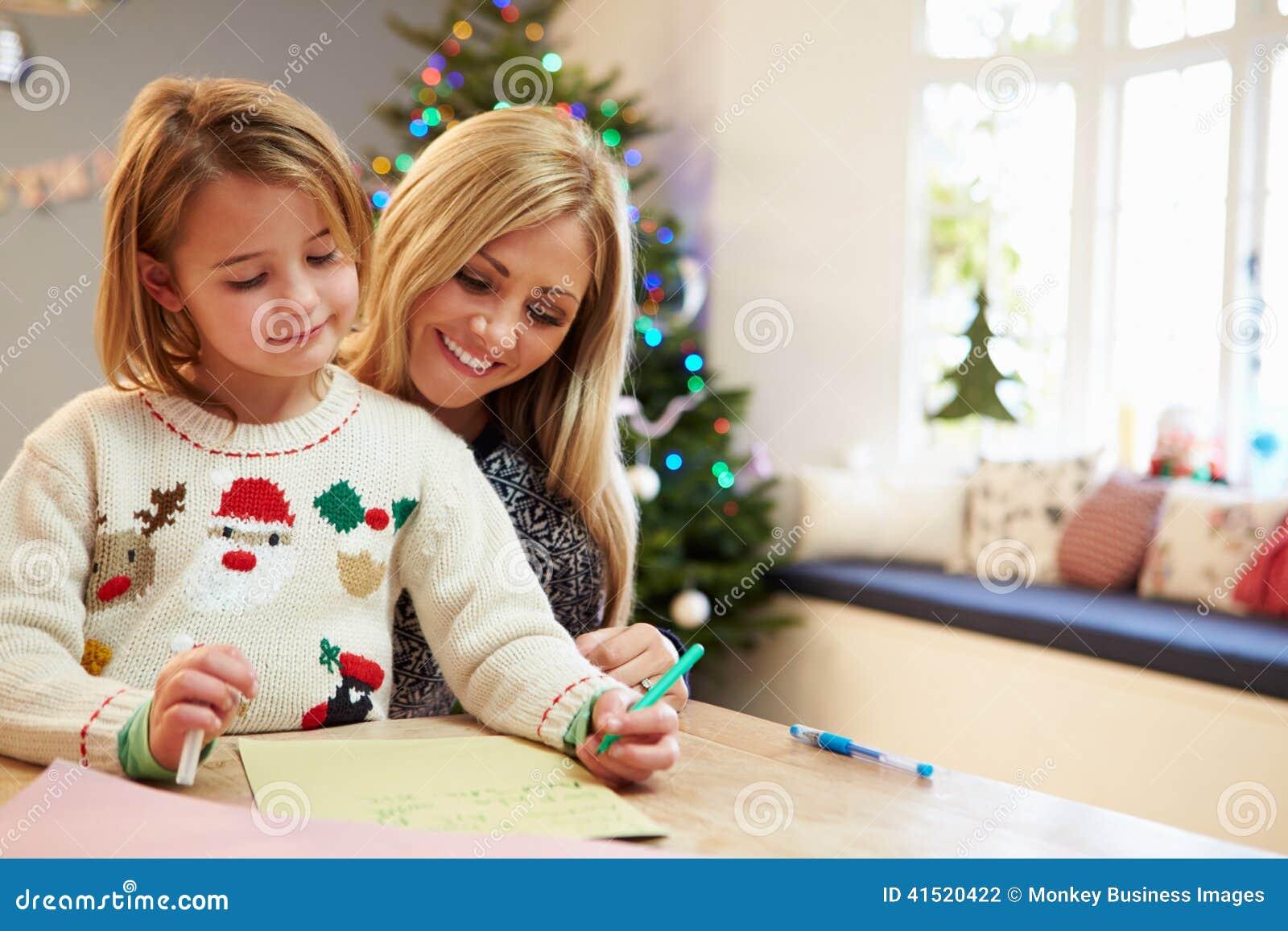 Lettre d écriture de mère et de fille à Santa Together
