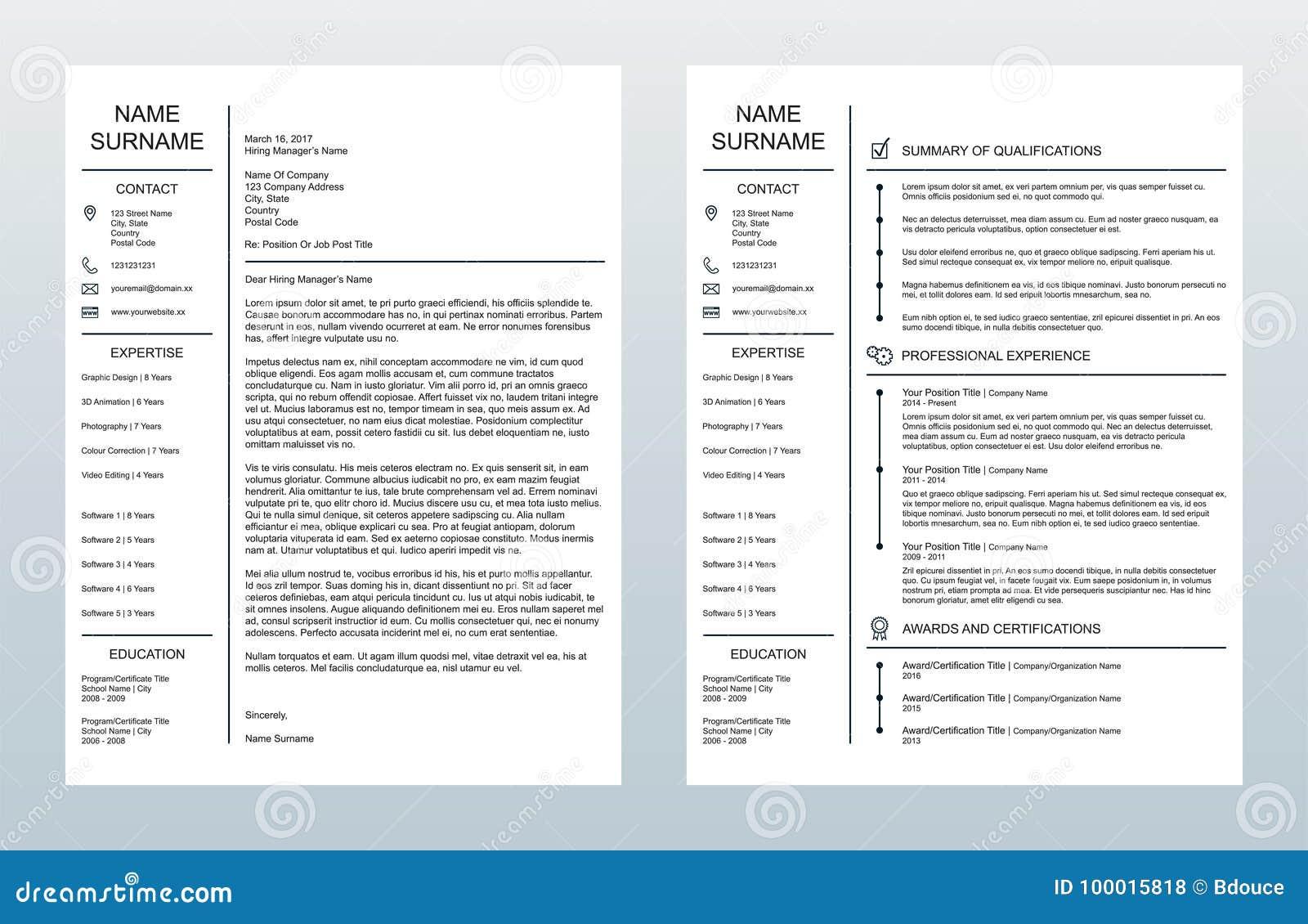 lettre d u0026 39 accompagnement cr u00e9ative minimaliste de vecteur et un calibre de la page resume  cv sur