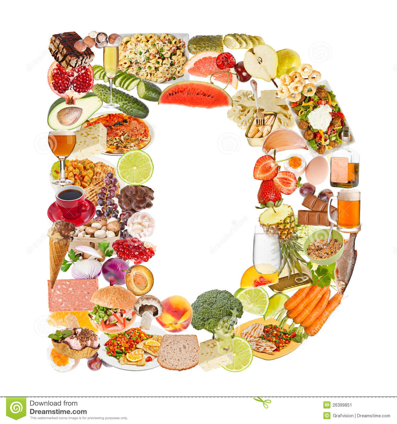 Lettre d faite de nourriture image stock image 26399851 for Comidas con d