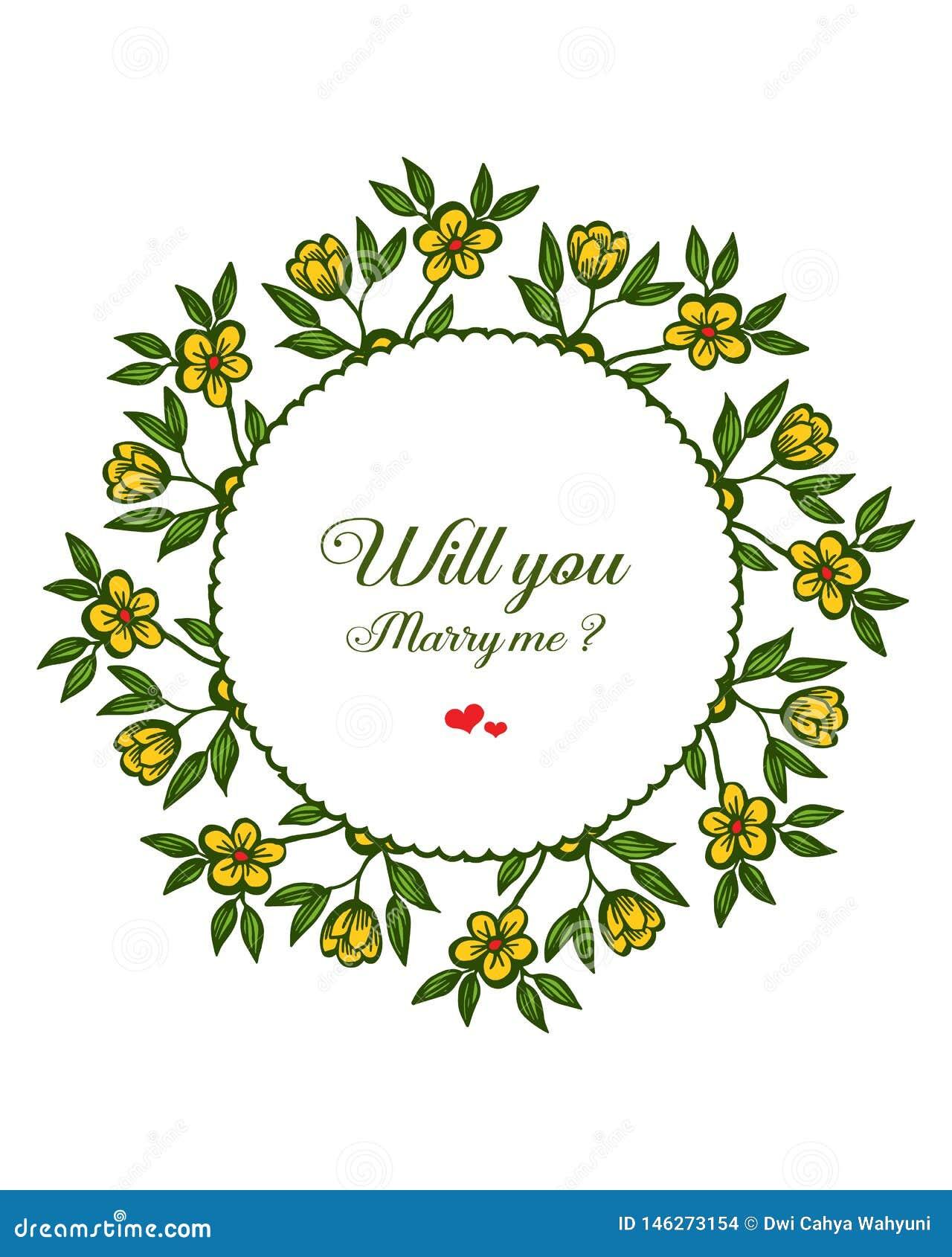 Lettre d illustration de vecteur vous m ?pouserez avec le cadre jaune de fleur de style