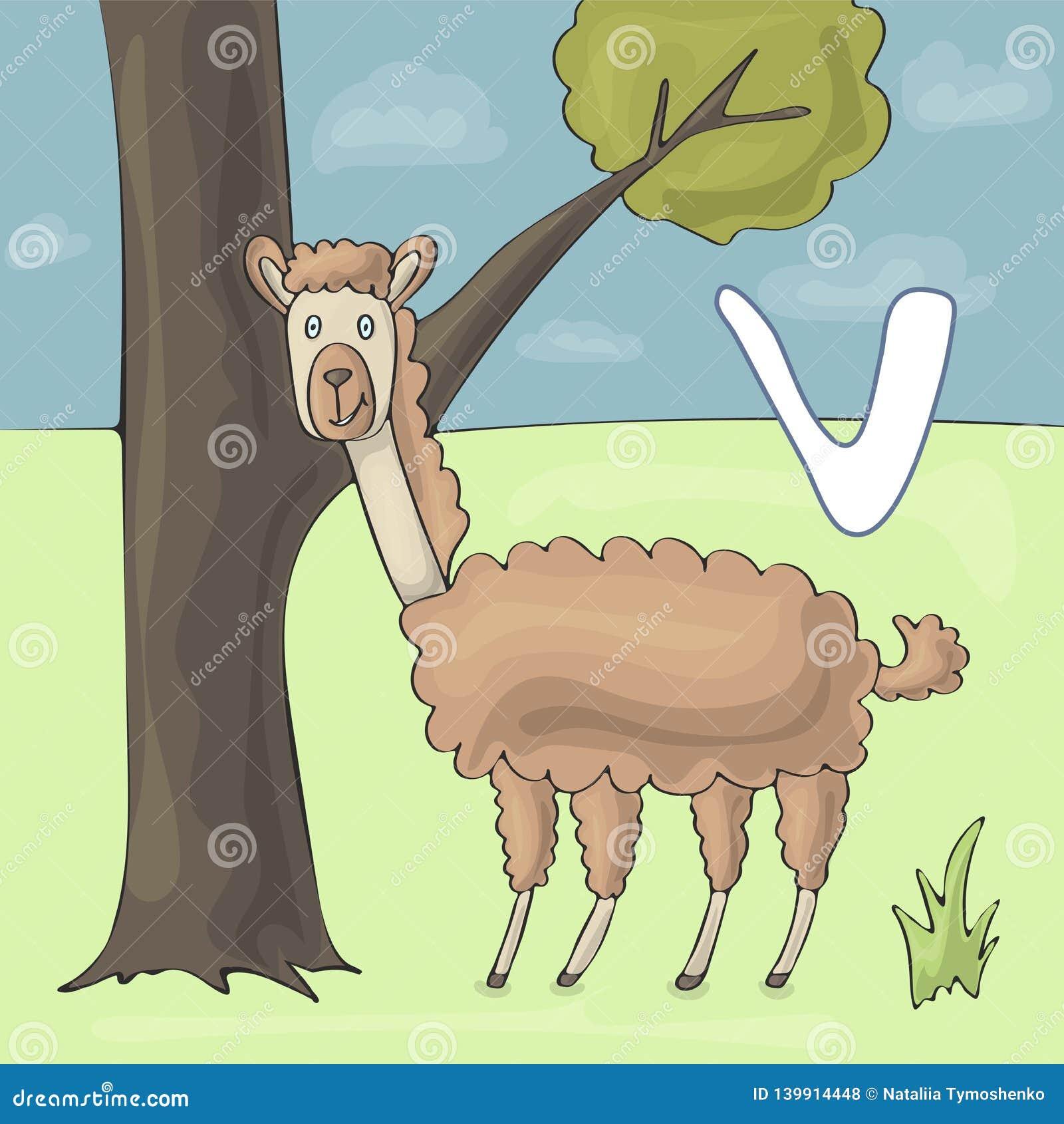 Lettre illustrée V d alphabet et vigogne Bande dessinée de vecteur d image de livre d ABC Supports drôles de vigogne près de l ar