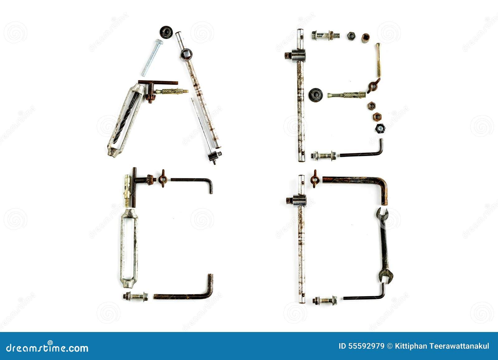 Lettre industrielle A, B, C, D d alphabet en métal d isolement
