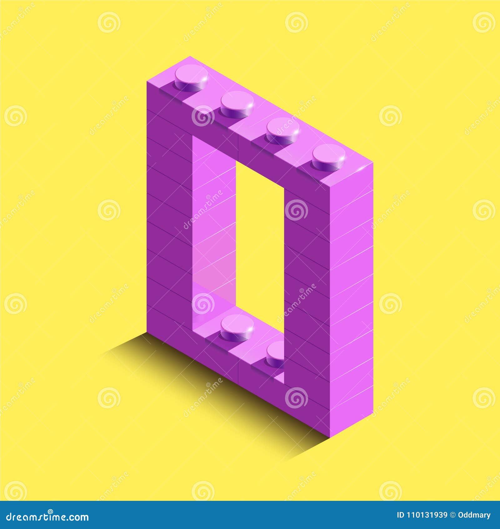 Lettre isométrique réaliste O du rose 3d de l alphabet des briques de lego de constructeur Lettre 3d en plastique isométrique ros