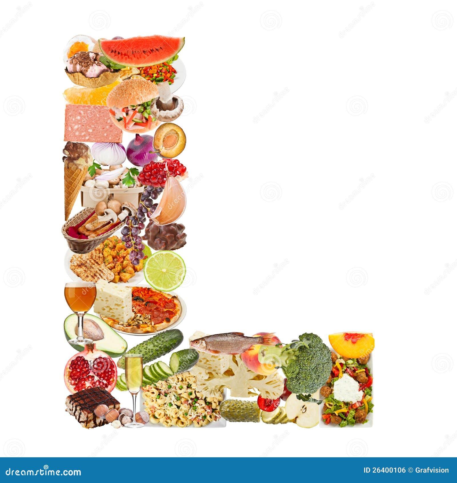 Lettre L faite de nourriture