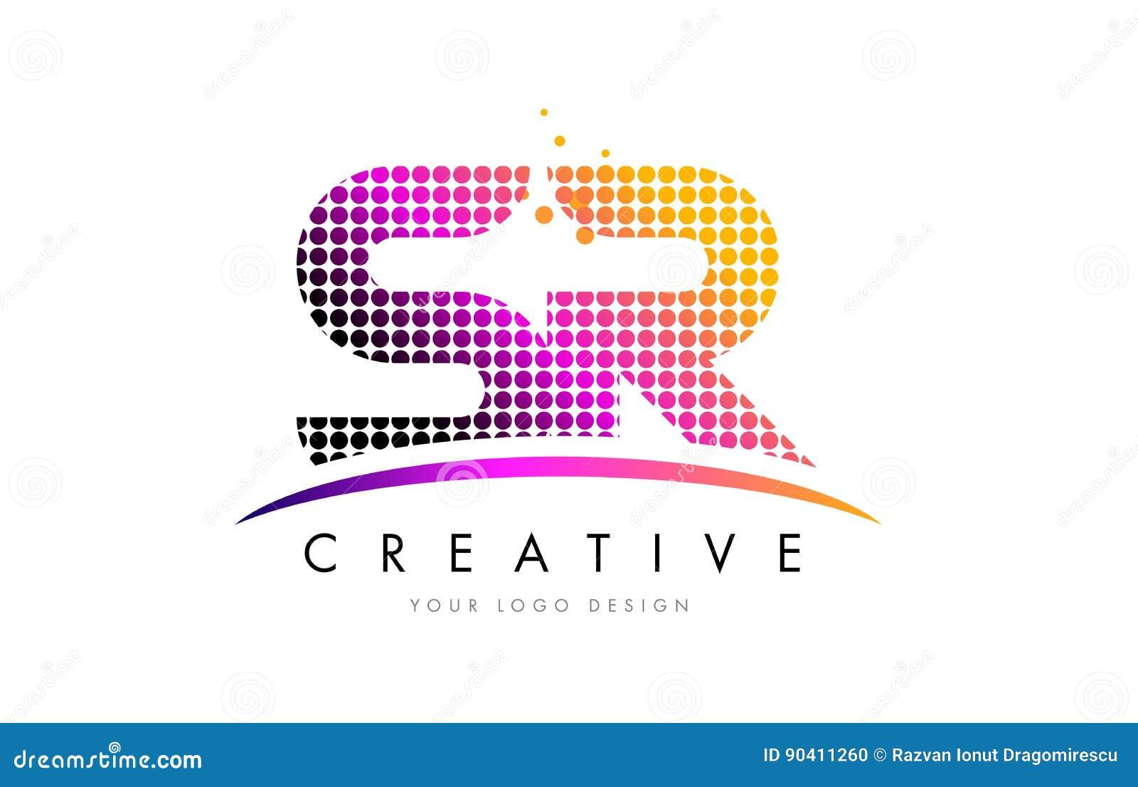 Lettre Logo Design du SR S R avec les points et le bruissement magenta