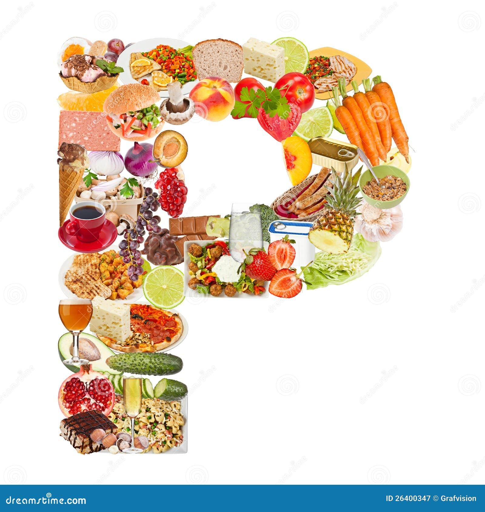 Lettre P faite de nourriture