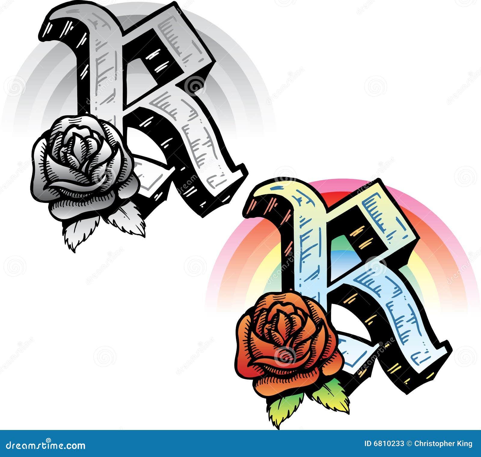lettre r de type de tatouage photos stock image 6810233. Black Bedroom Furniture Sets. Home Design Ideas