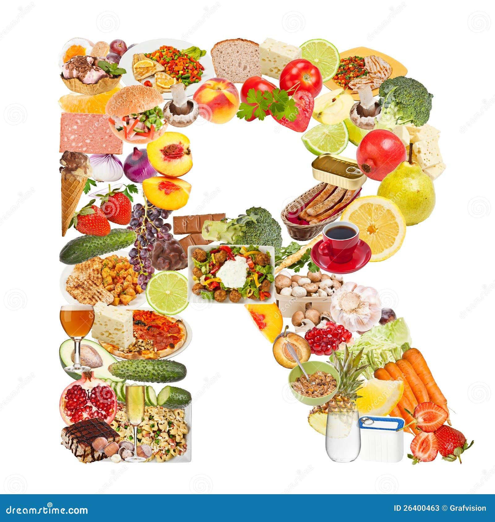 Lettre R faite de nourriture