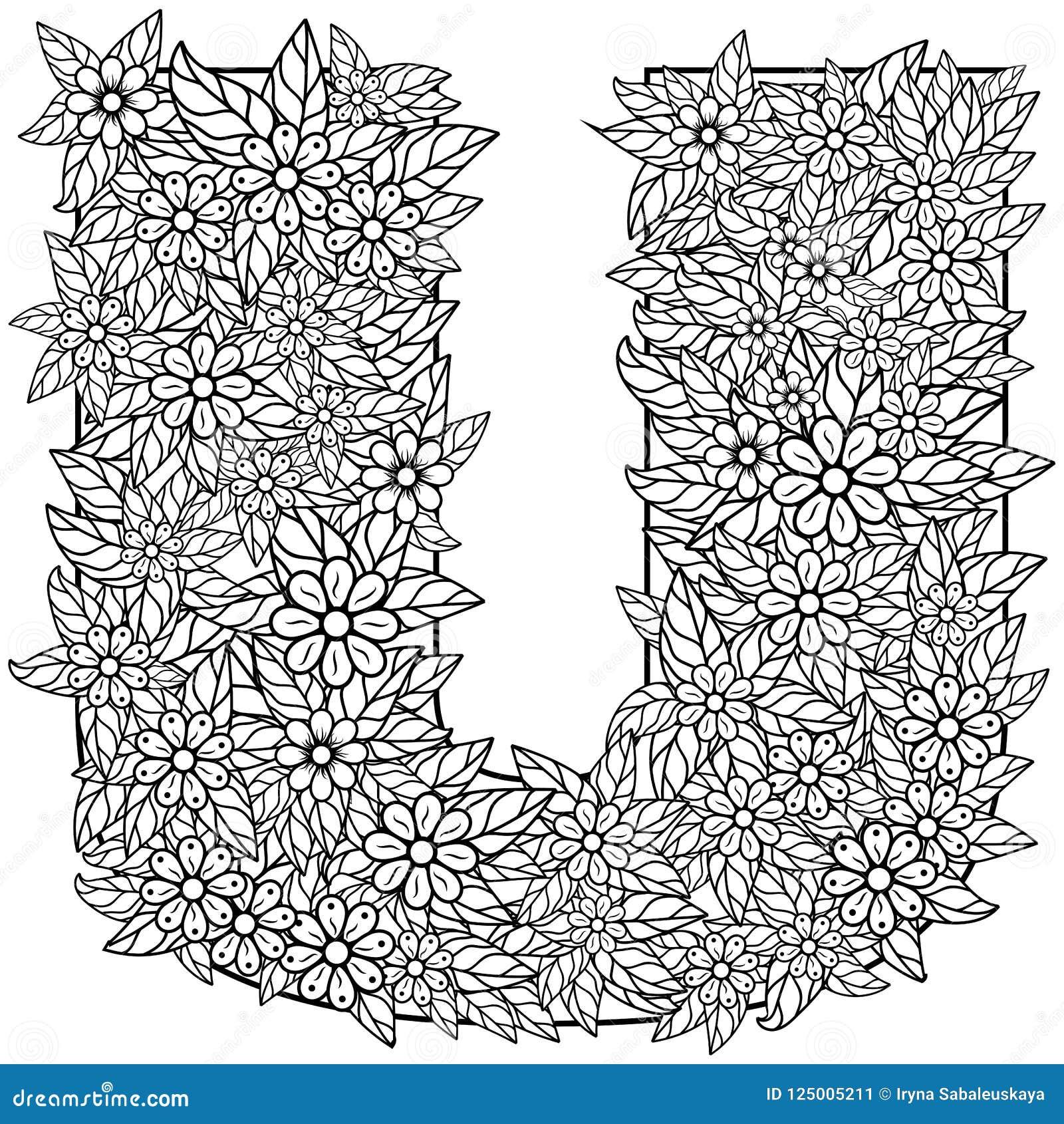 Lettre U Dessin De Dudling Mandala Alphabet Dans Le Style