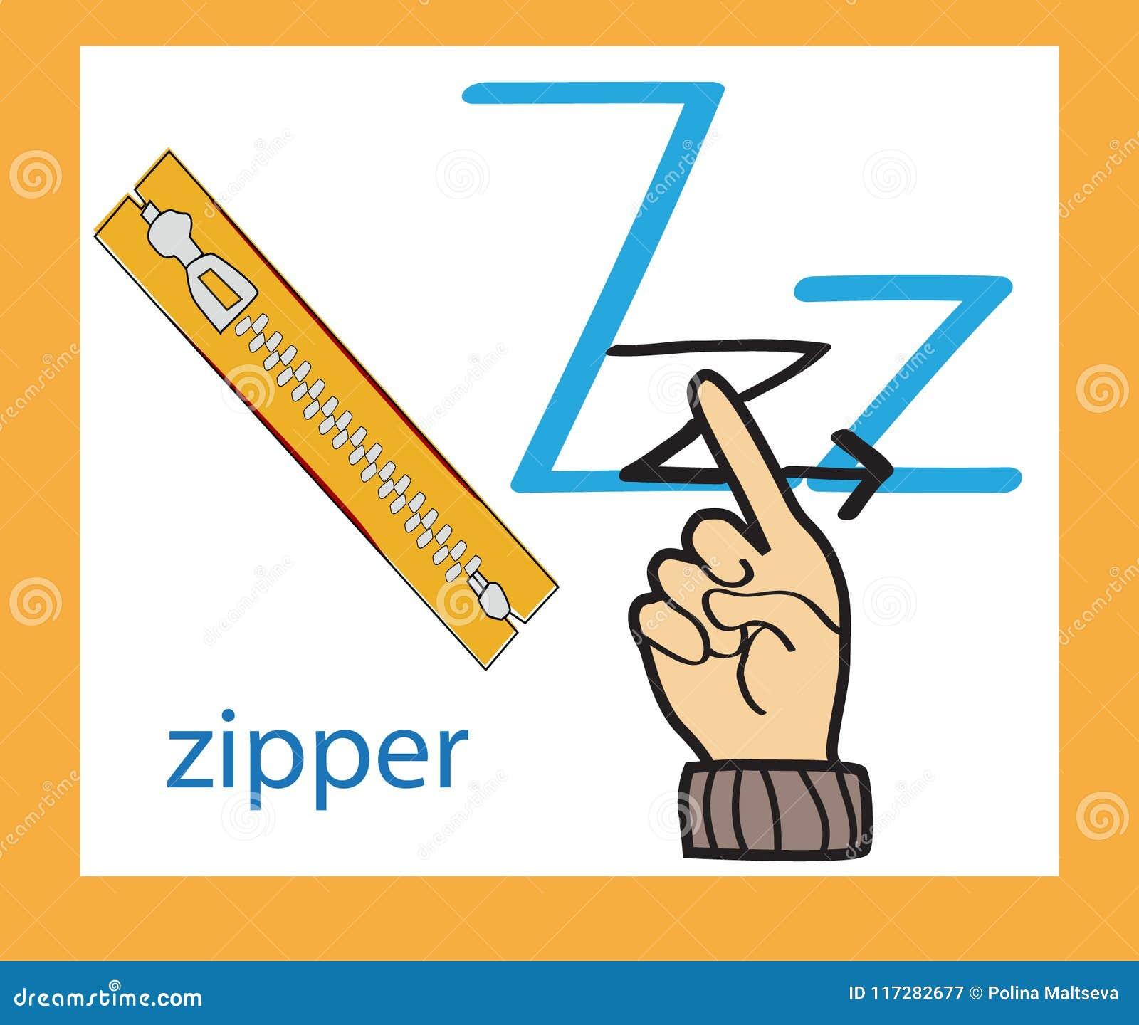Lettre z de bande dessinée alphabet anglais créateur Concept d ABC Langue des signes et alphabet