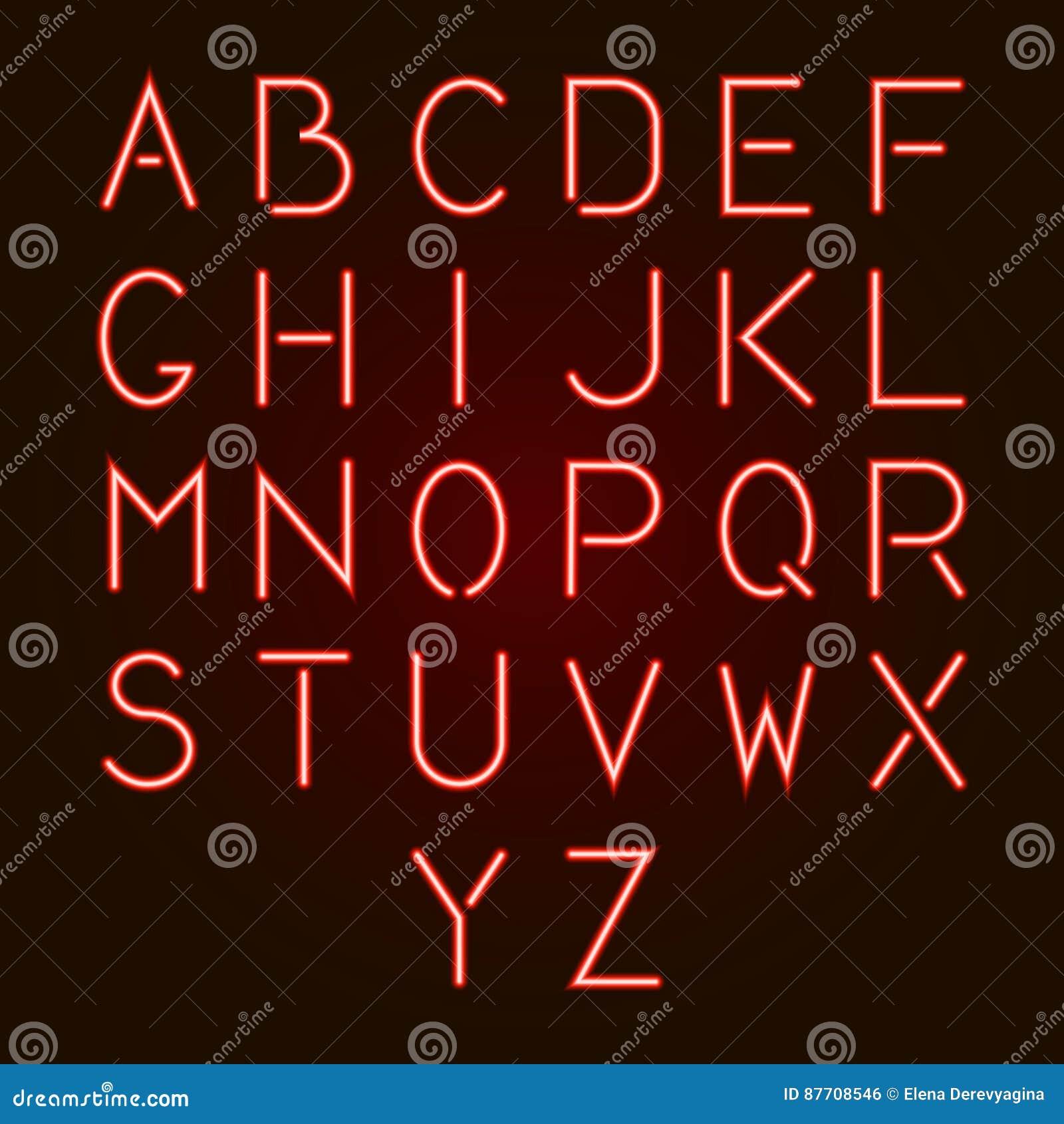 Lettres au néon rouges rougeoyantes d alphabet d A - Z Illustration de vecteur