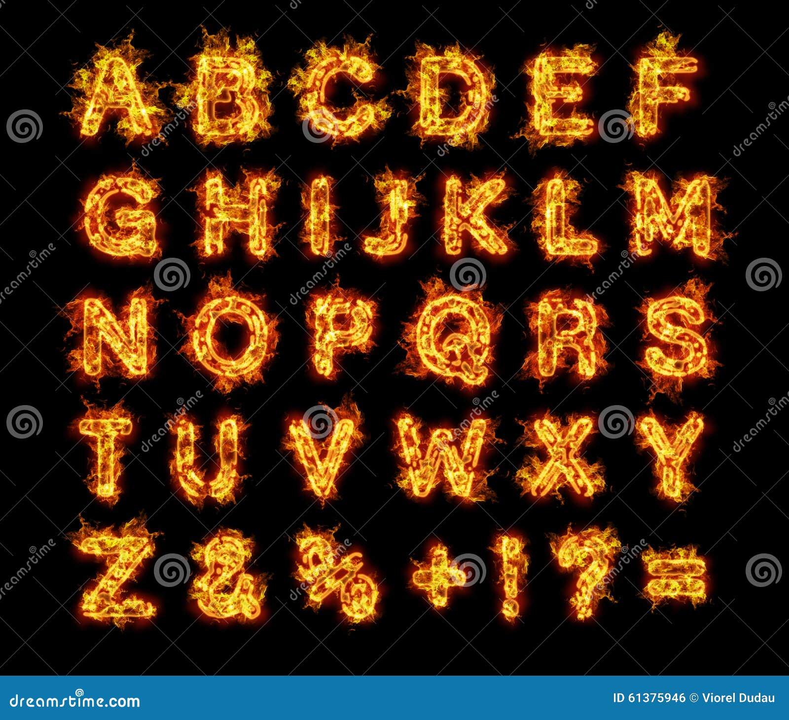 lettres br lantes d 39 alphabet du feu de flammes illustration stock image 61375946. Black Bedroom Furniture Sets. Home Design Ideas