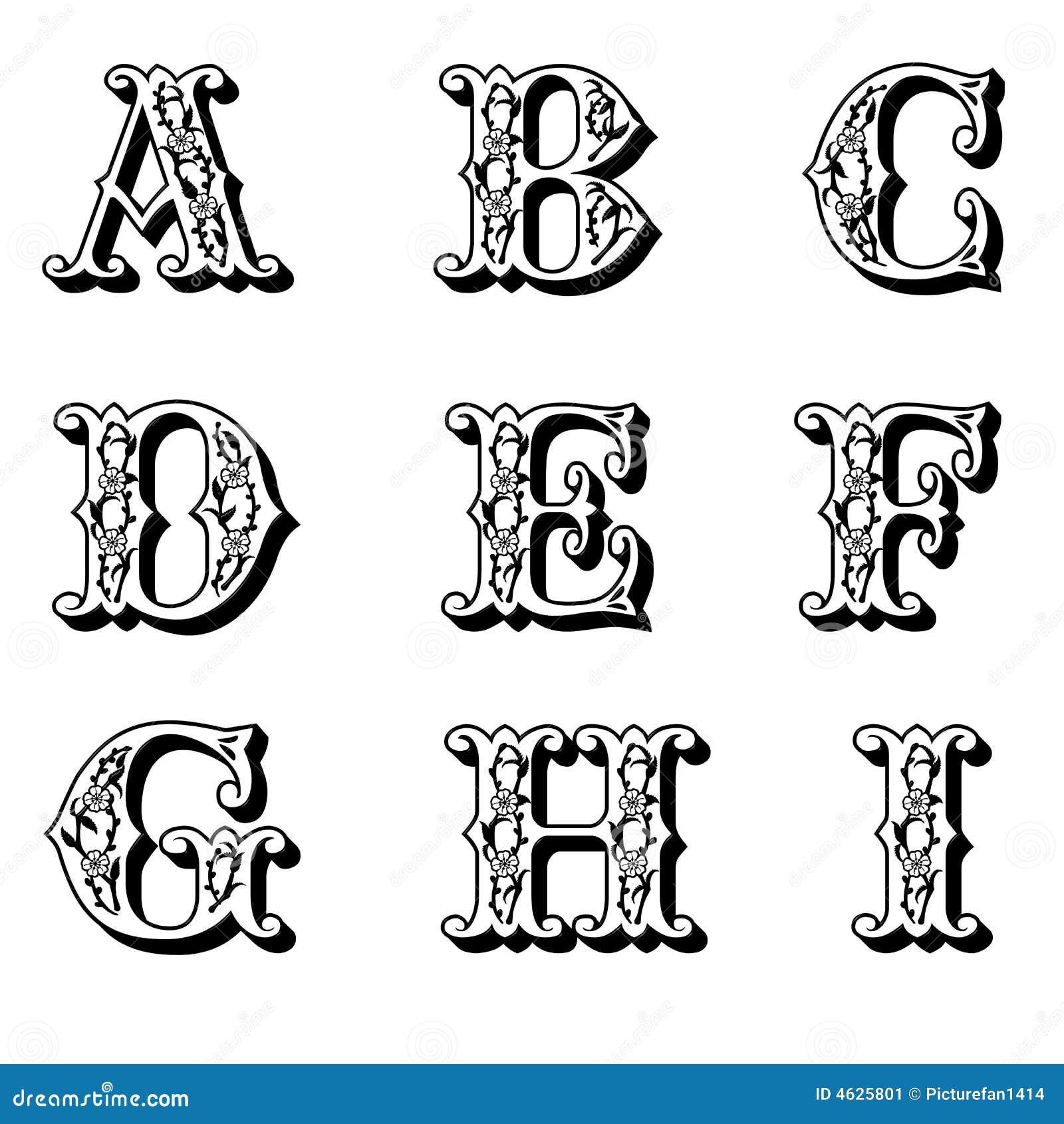 Lettres capitales 1 de fleur illustration stock image - Lettre alphabet majuscule ...