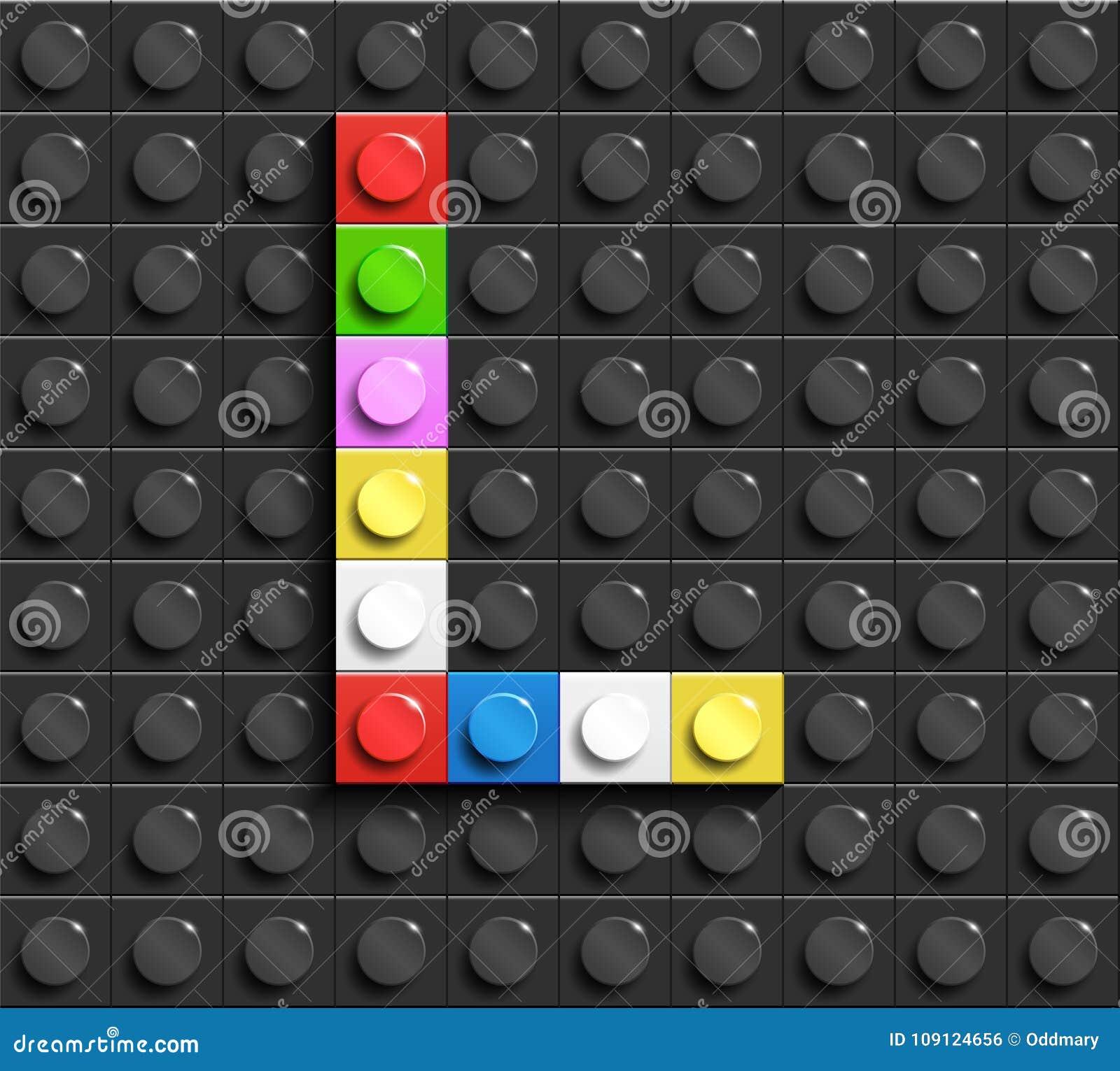 Lettres colorées L d alphabet des briques de lego de bâtiment sur le fond noir de brique de lego Fond de Lego lettres 3D