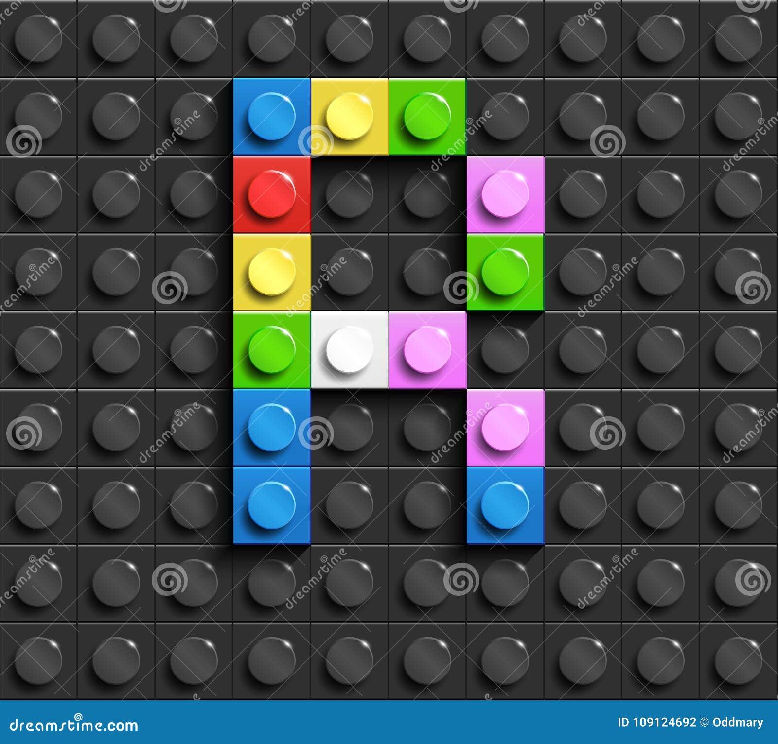 Lettres colorées R d alphabet des briques de lego de bâtiment sur le fond noir de brique de lego Fond de Lego lettres 3D