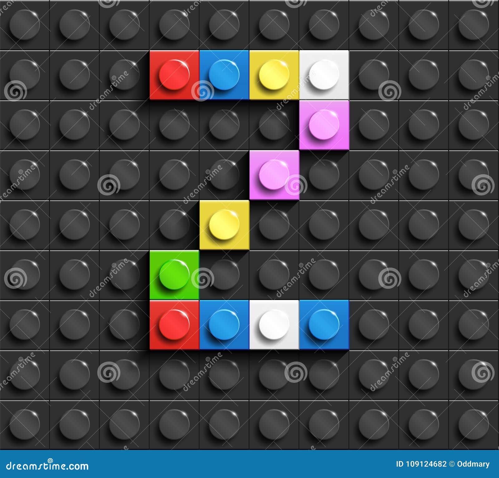 Lettres colorées Z d alphabet des briques de lego de bâtiment sur le fond noir de brique de lego Fond de Lego lettres 3D