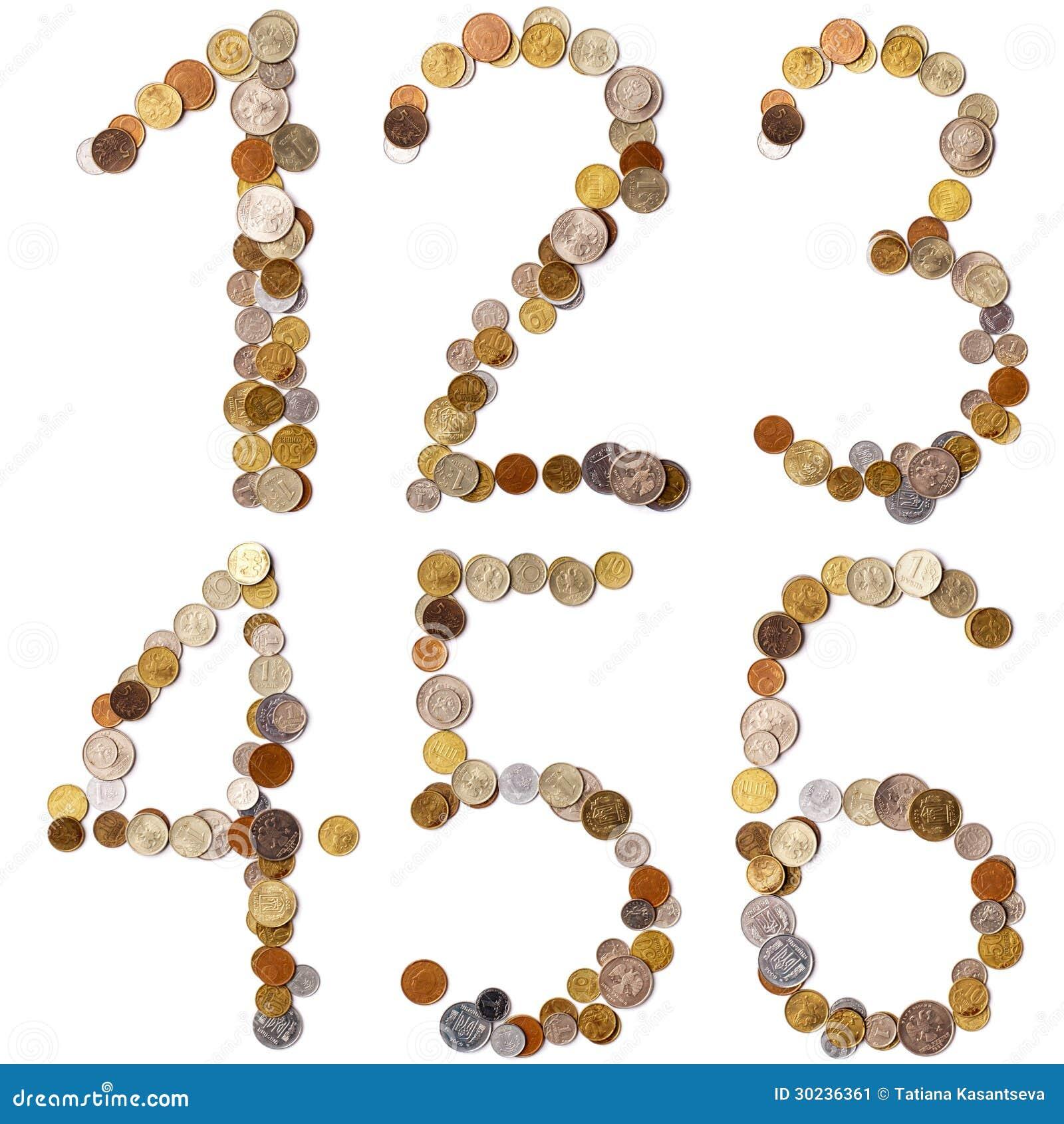 1 2 3 4 5 6 Lettres D Alphabet Des Pieces De Monnaie Image Stock Image Du Monnaie Pieces 30236361