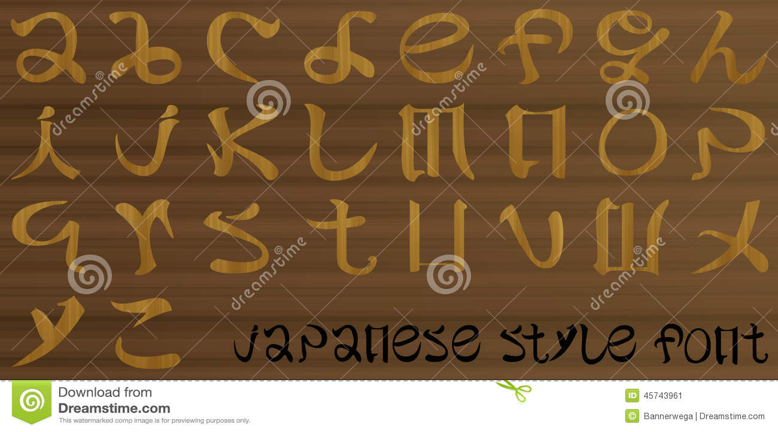 lettres du style japonais d 39 alphabet illustration de. Black Bedroom Furniture Sets. Home Design Ideas