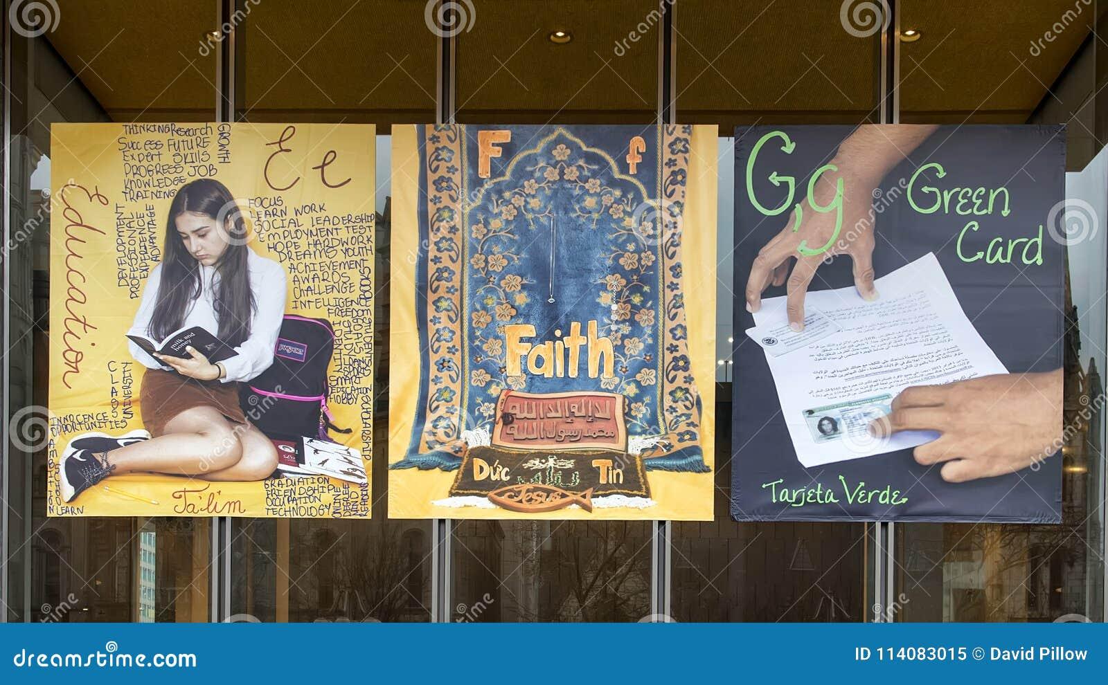 Lettres E pour l éducation, F pour la foi, et G pour des bannières de vinyle de carte verte, projet immigré d alphabet, Philadelp