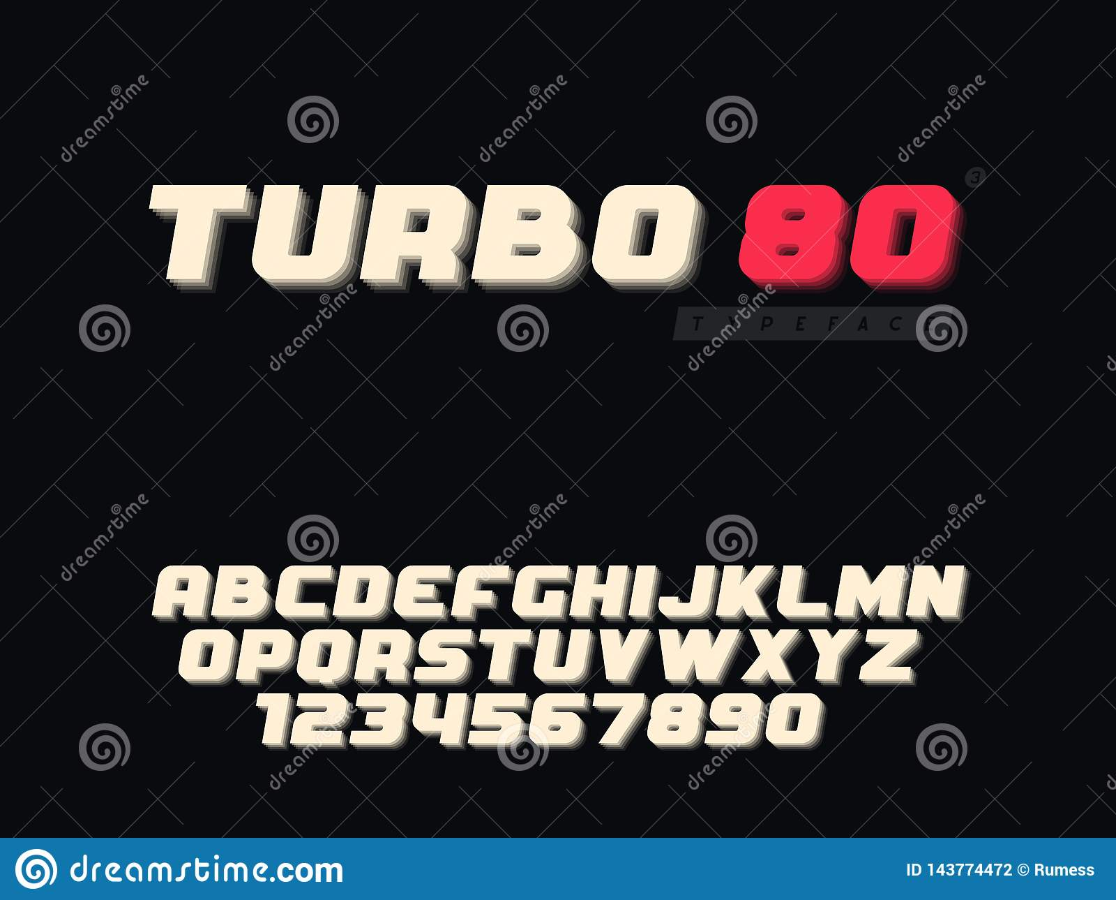 Lettres et nombre majuscules latins d alphabet Rétro police 3d Illustration de vecteur