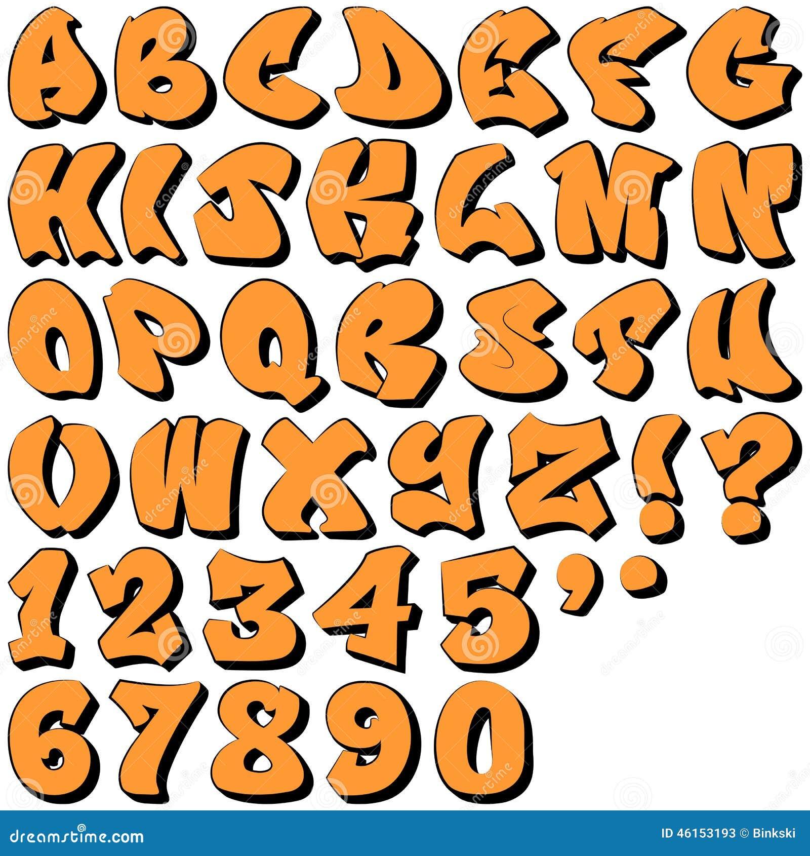 Lettres et nombres de graffiti illustration de vecteur illustration du sale typeface 46153193 - Lettre graffiti alphabet ...