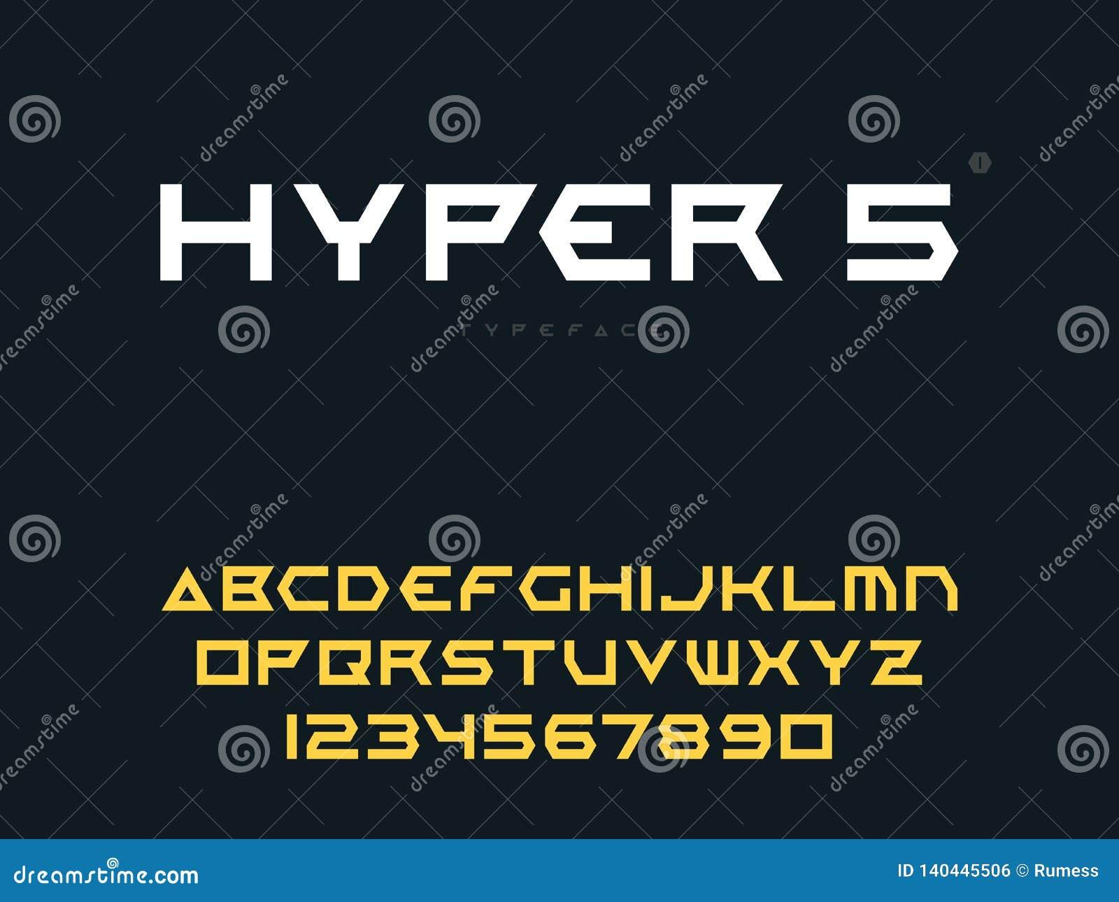 Lettres et nombres majuscules latins d alphabet de vecteur Police futuriste abstraite de l espace