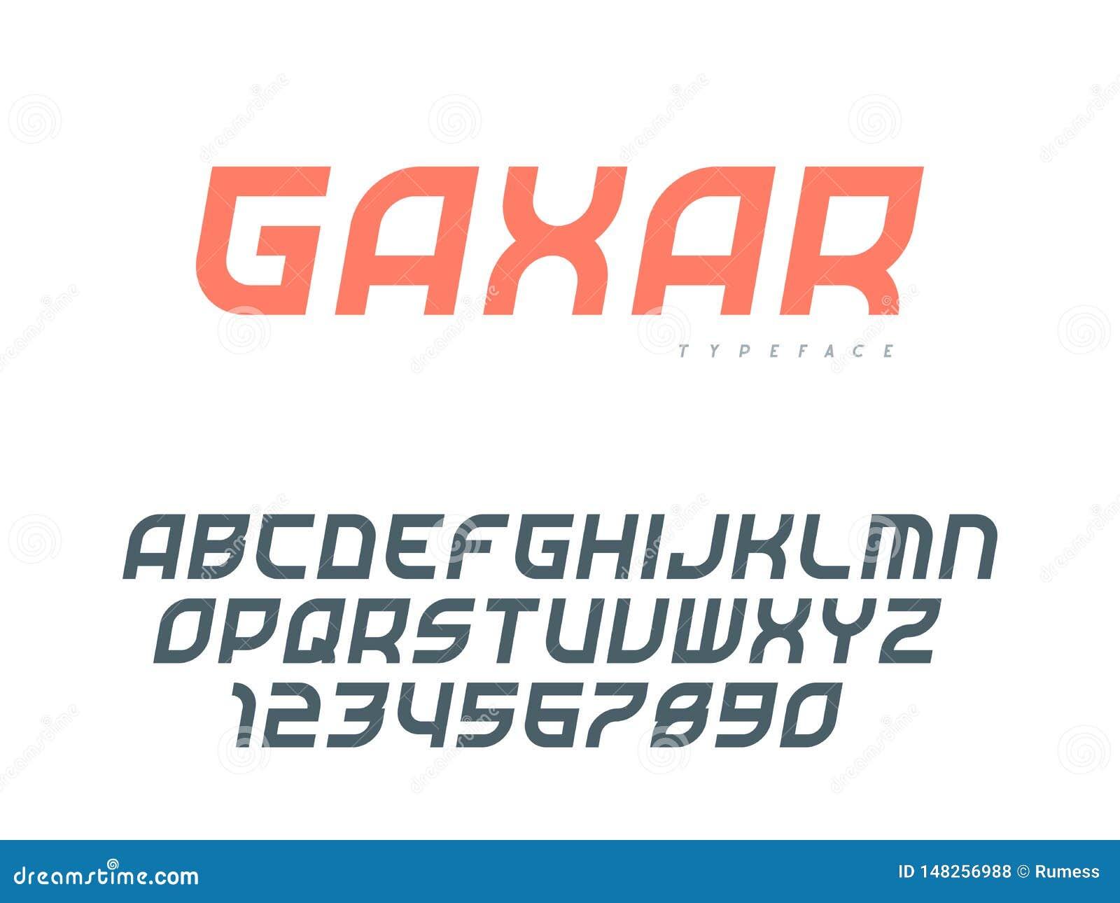Lettres et nombres majuscules latins d alphabet Police abstraite Illustration de vecteur
