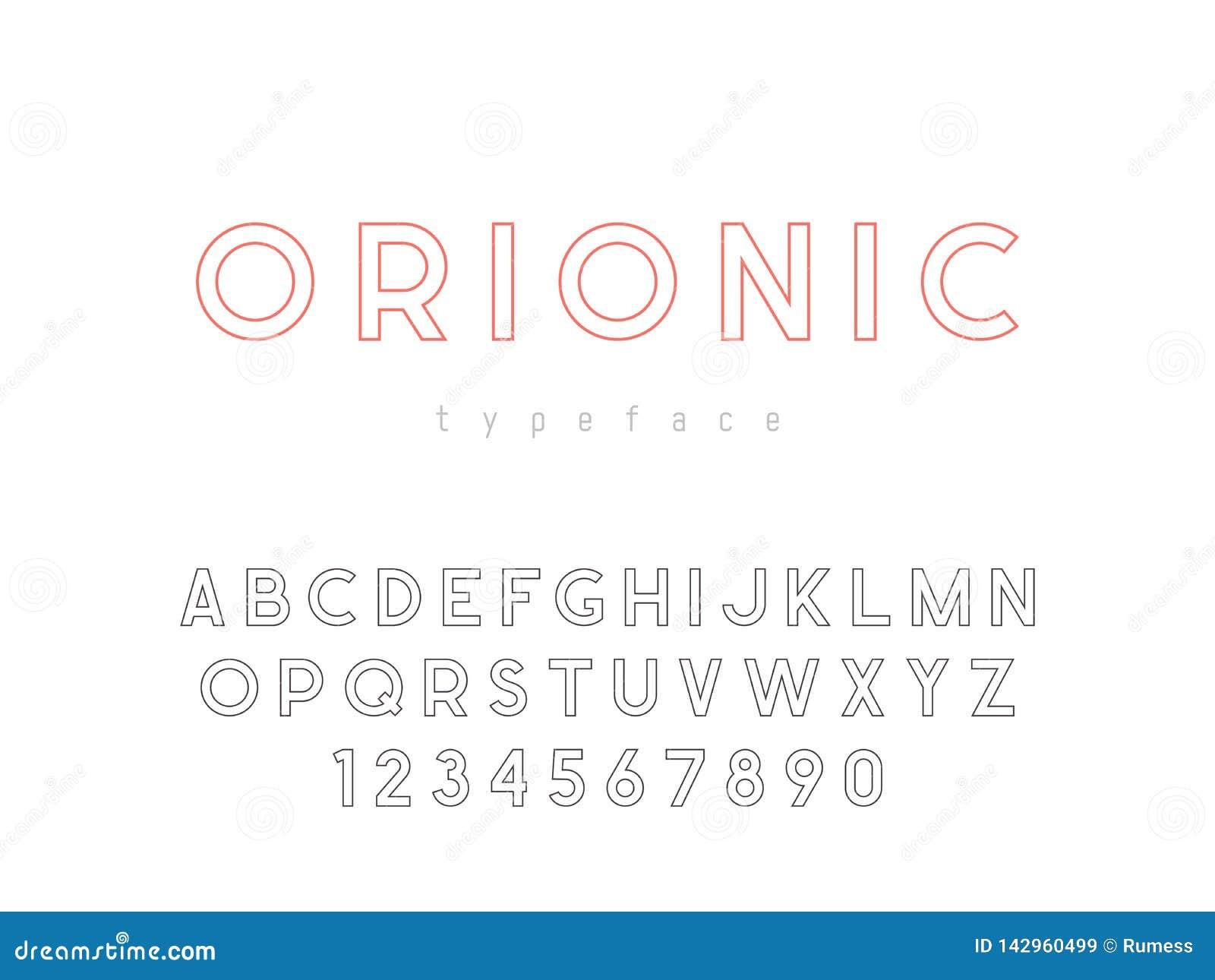 Lettres et nombres majuscules latins d alphabet Police linéaire Illustration de vecteur