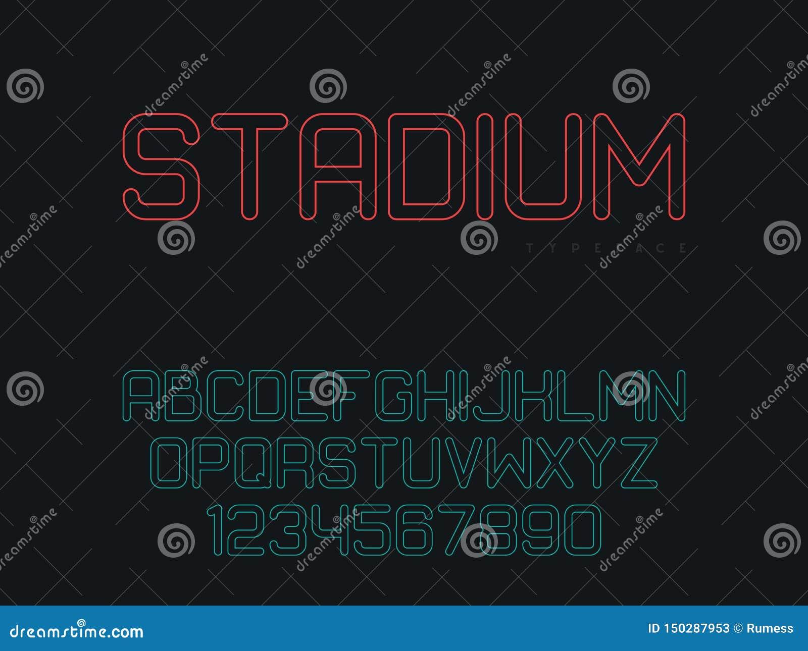 Lettres et nombres majuscules latins d alphabet Police lin?aire Illustration de vecteur