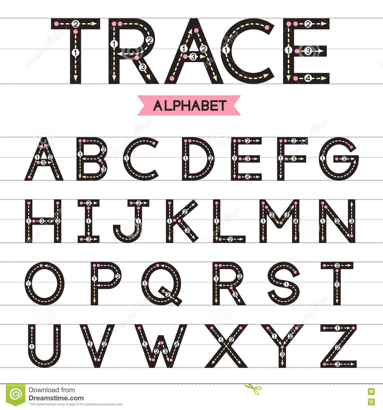 Super Lettres Majuscules D'alphabet De Trace Illustration de Vecteur  WE45