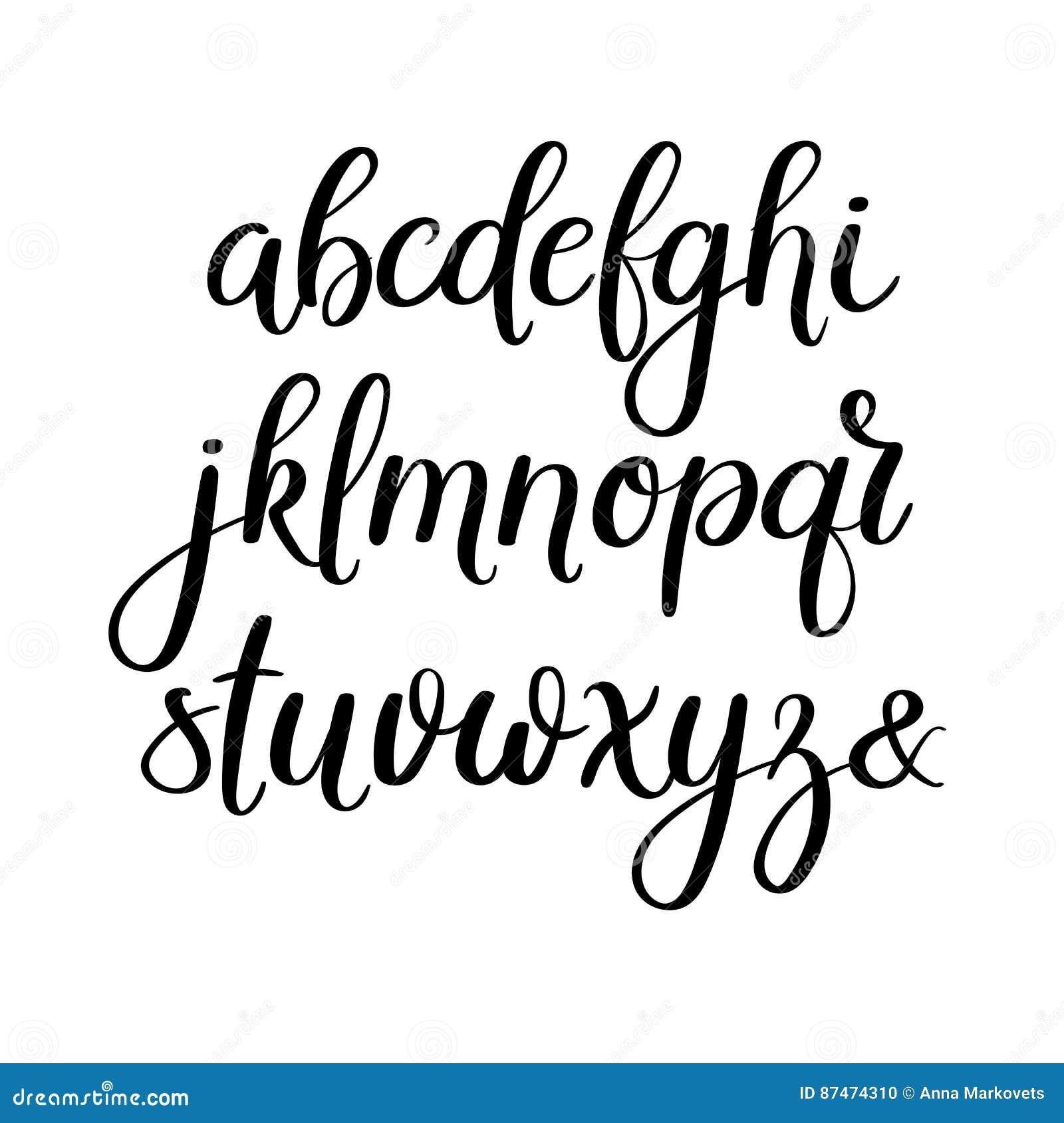 Lettres manuscrites de brosse abc calligraphie moderne - Experte en composants 15 lettres ...