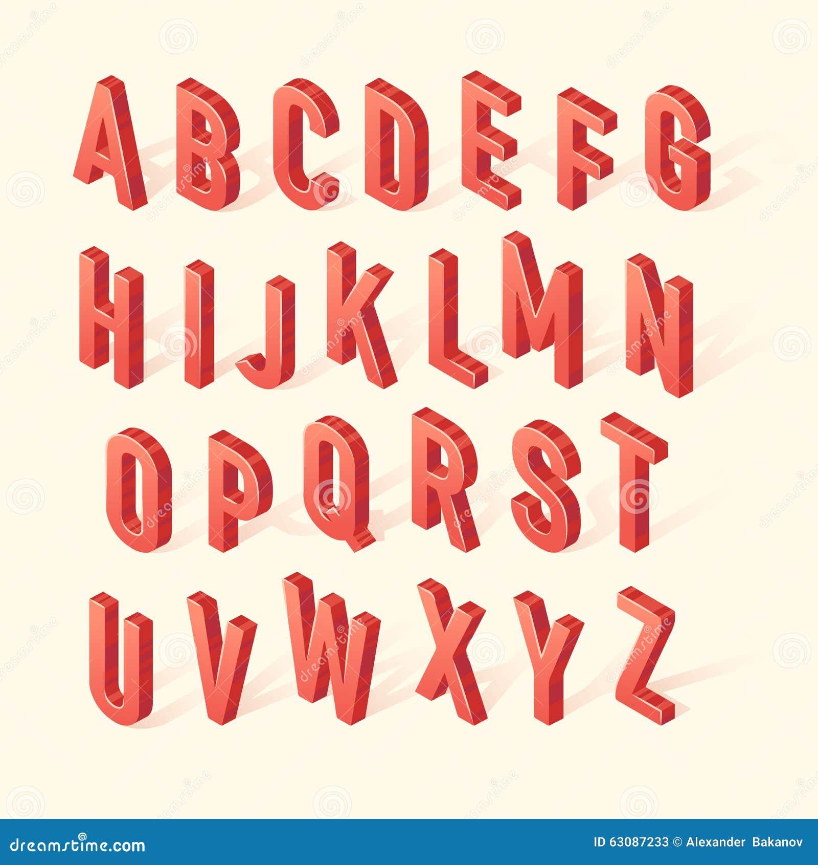 Download Lettres Réalistes Isométriques De La Police 3D De Vecteur Rouge Illustration de Vecteur - Illustration du signe, isométrique: 63087233