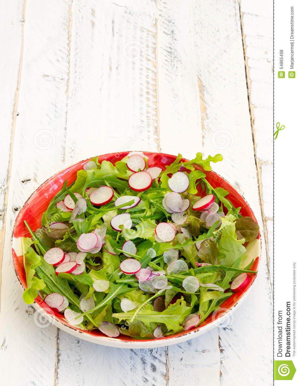 Lettuce Rocket Leaves With Chopped Radishes Salad on Gingham Plate