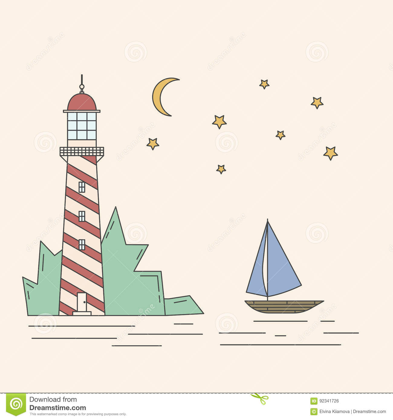 Leuchtturm, Meer, Segelboot, Mondschein nightvector Illustration