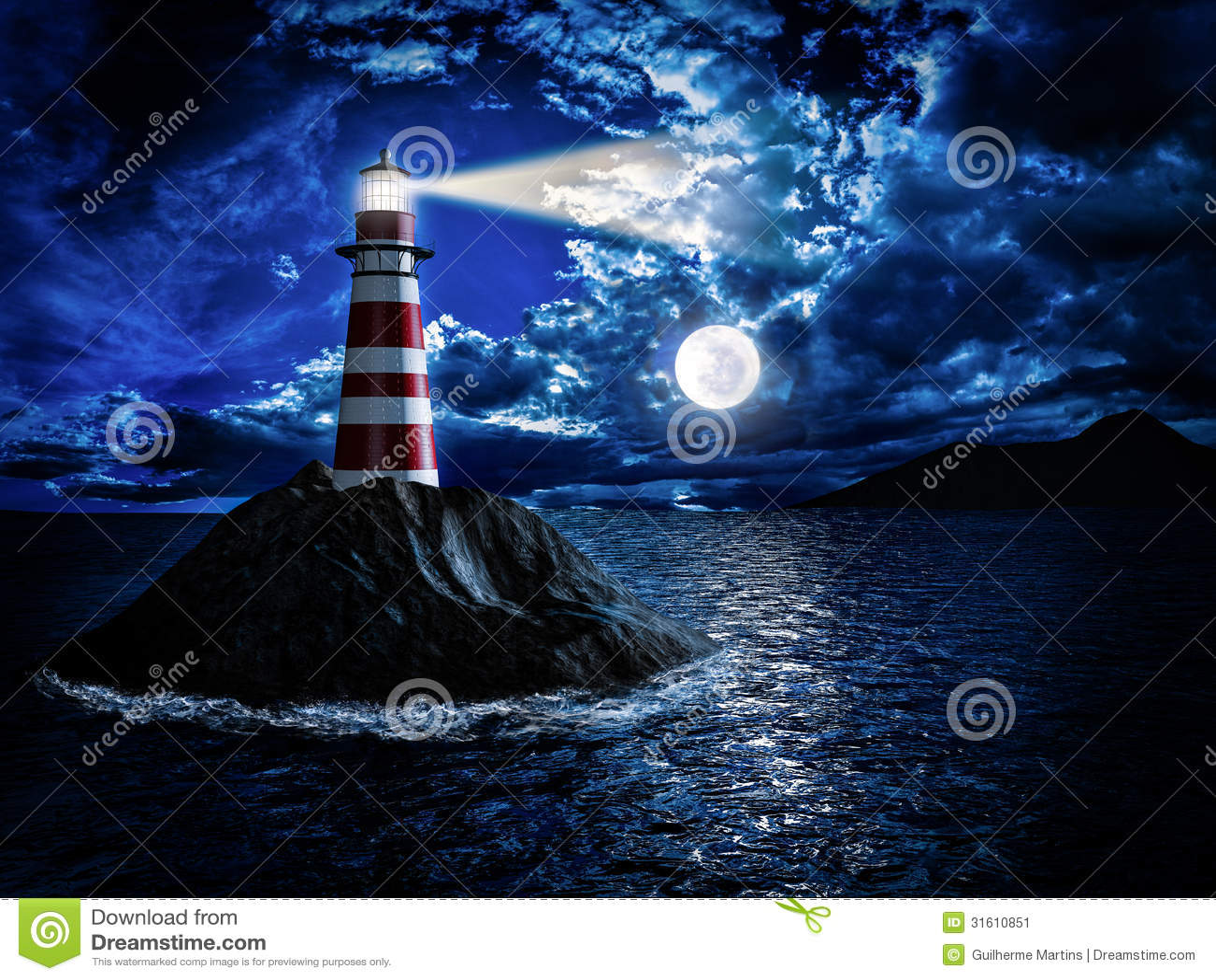Leuchtturm am Mondschein