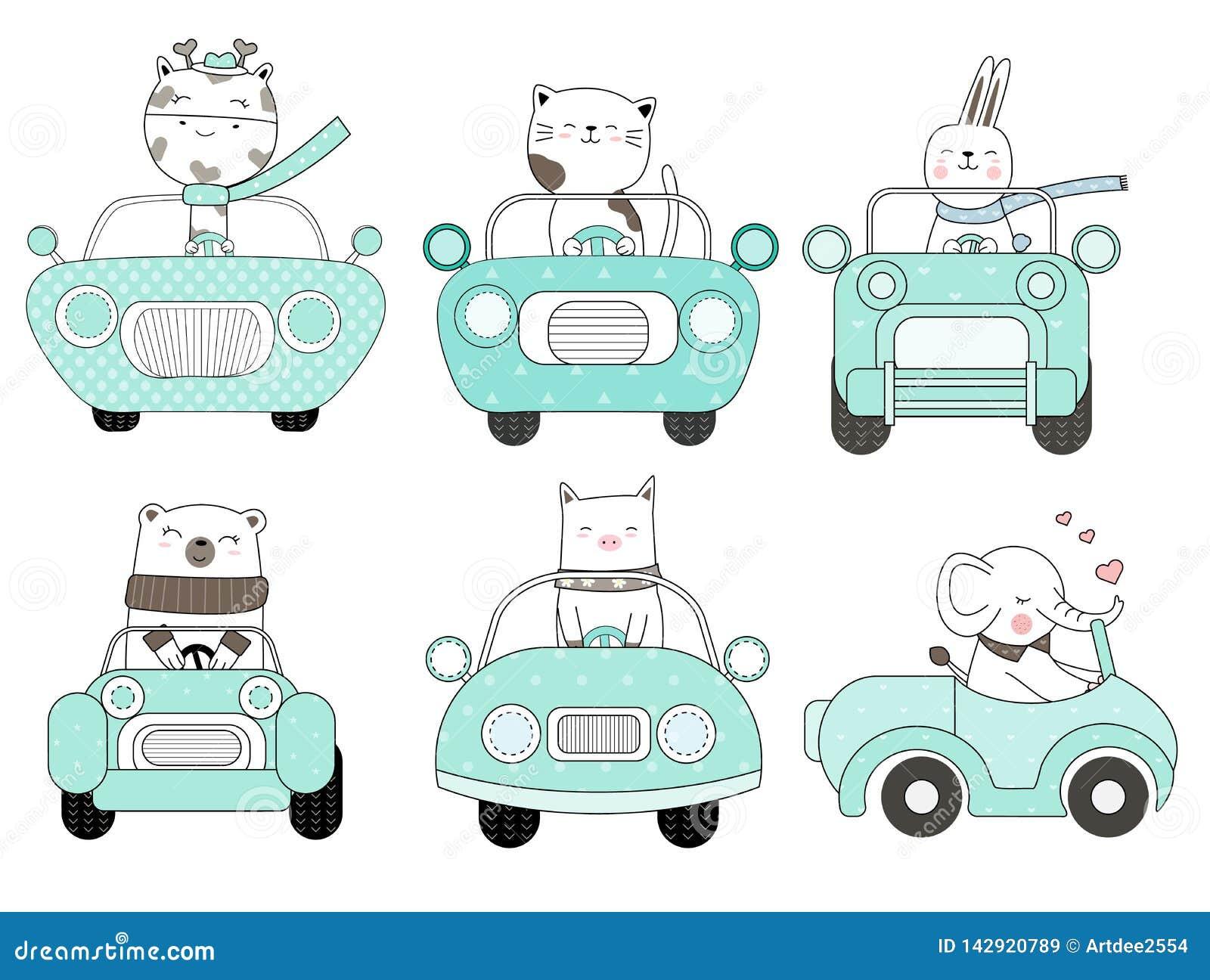 Leuk babydier met de getrokken stijl van het autobeeldverhaal hand, voor druk, kaart, t-shirt, banner, product Vector