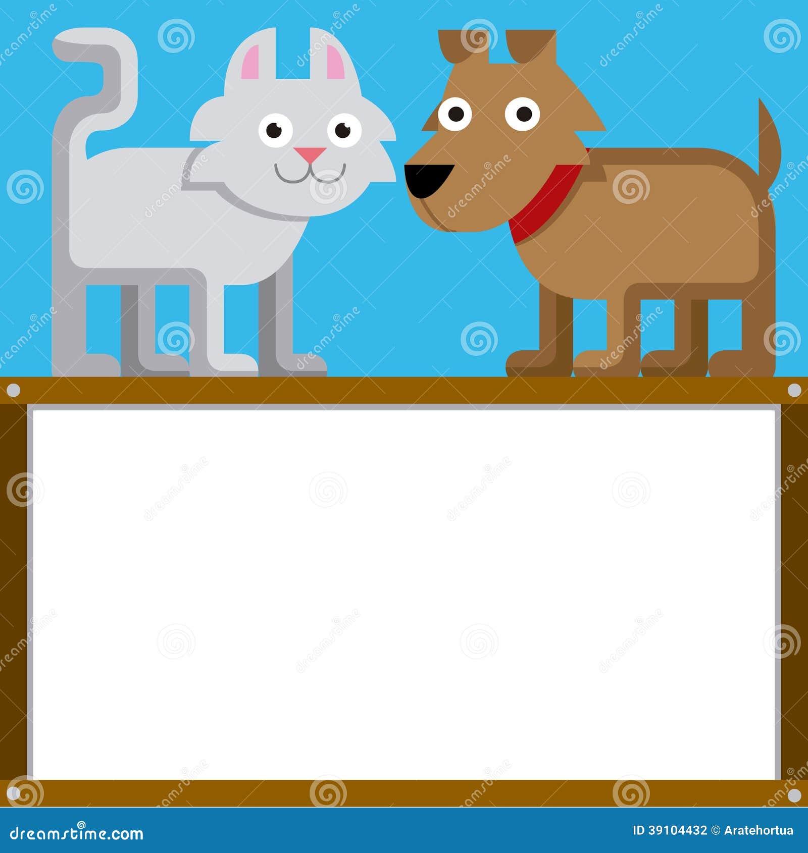 Leuk Beeldverhaal Cat And Dog With Space voor Tekst