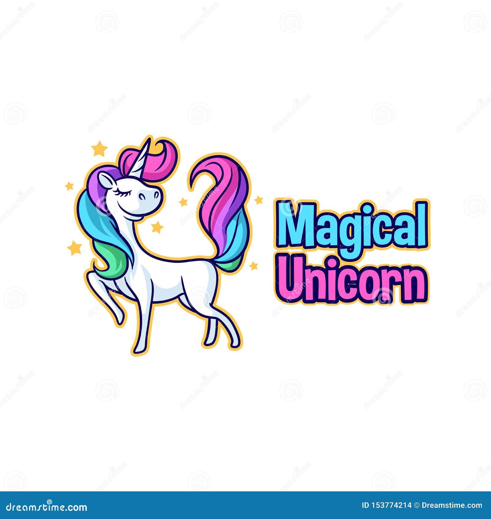 Leuk Beeldverhaal Unicorn Character Mascot Logo